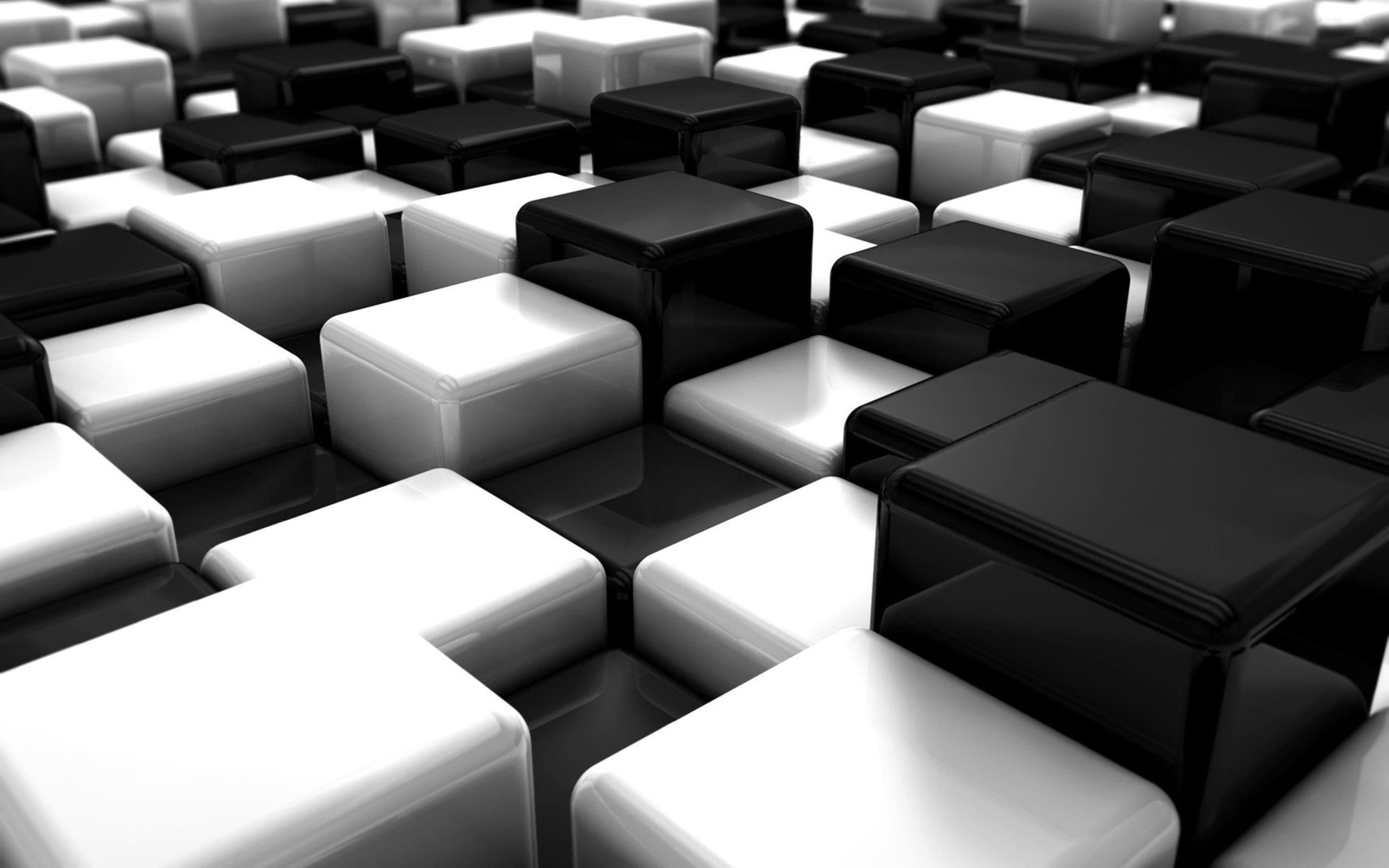 awesome abstract black white blocks cubes digital art hd resolution  wallpaper
