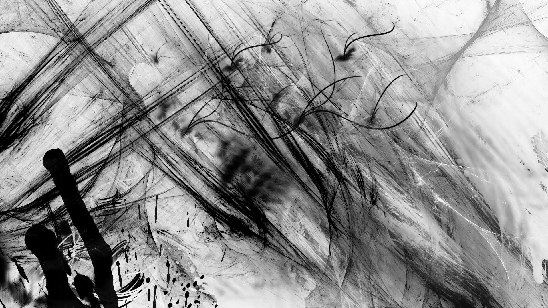Abstract black white spray paint contrast wallpaper