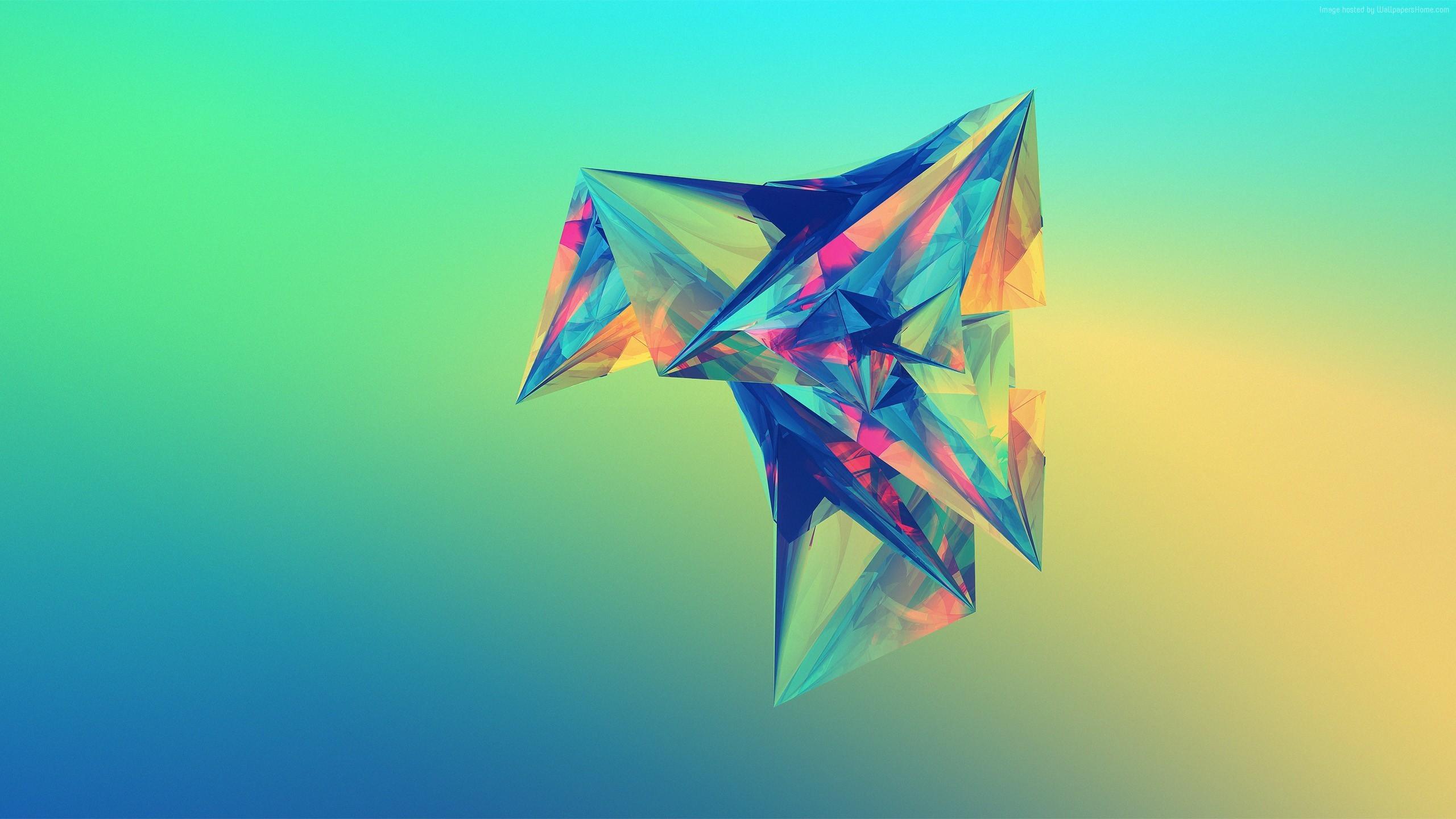 Wallpaper polygon, 4k, HD wallpaper, green, orange, blue, background,  Abstract #231
