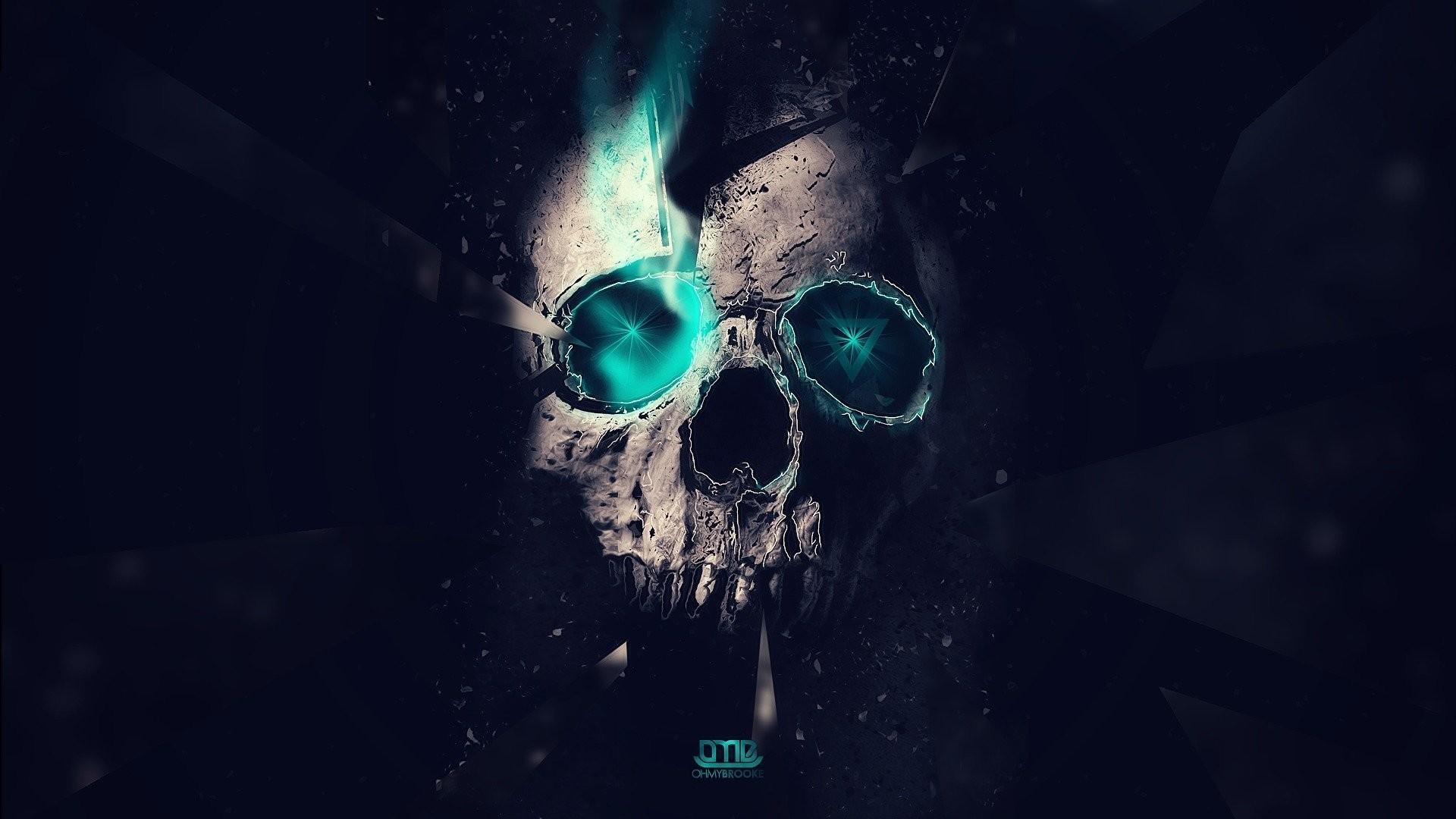 skull abstract dark minimalism 1920×1080