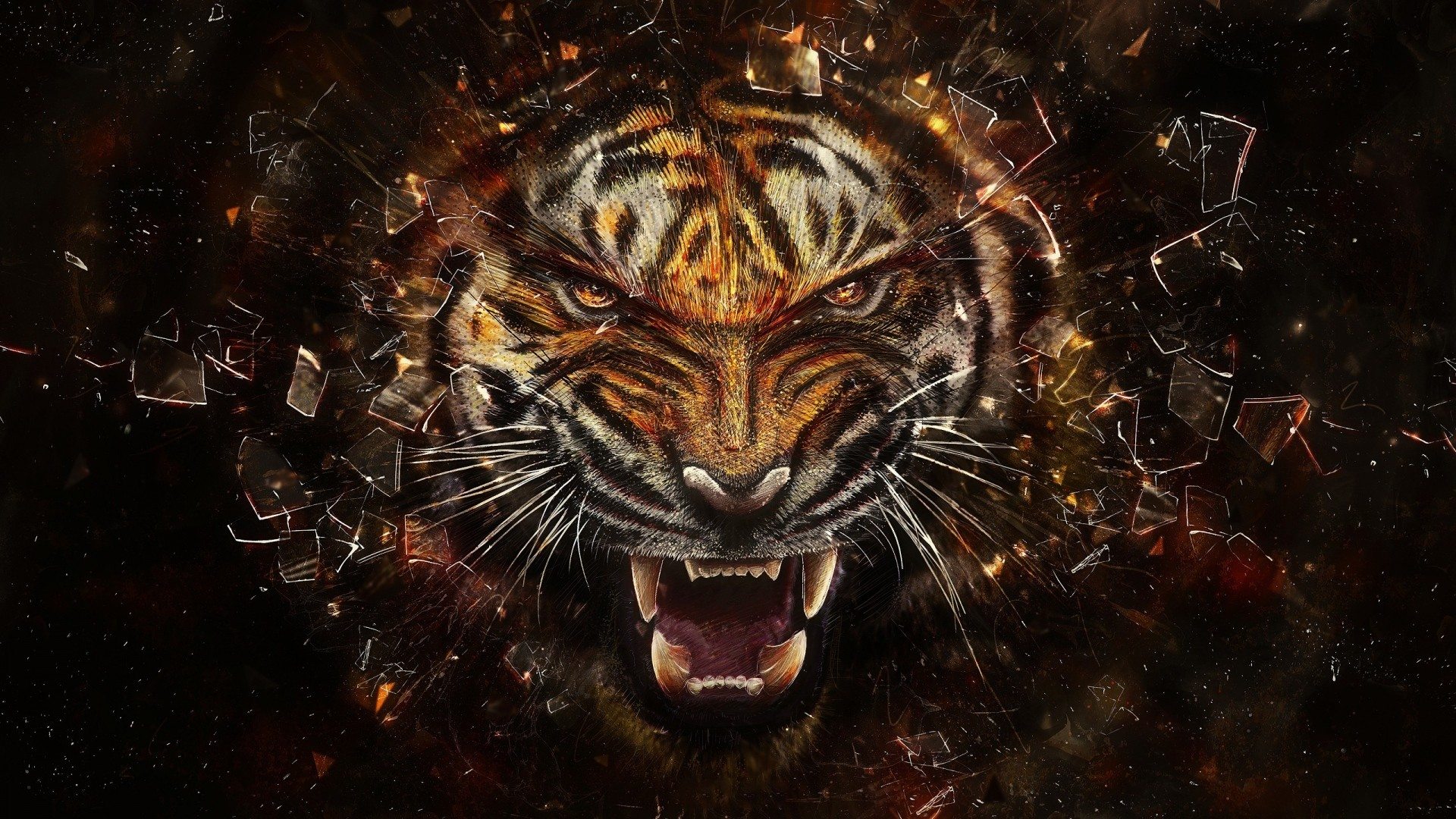 Preview wallpaper tiger, glass, shards, aggression, teeth 1920×1080