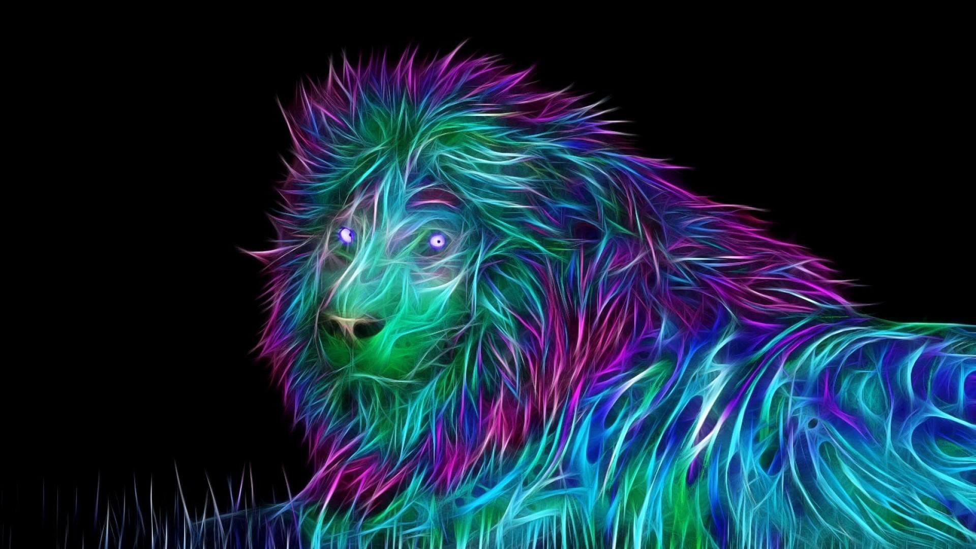 Preview wallpaper abstract, 3d, art, lion 1920×1080