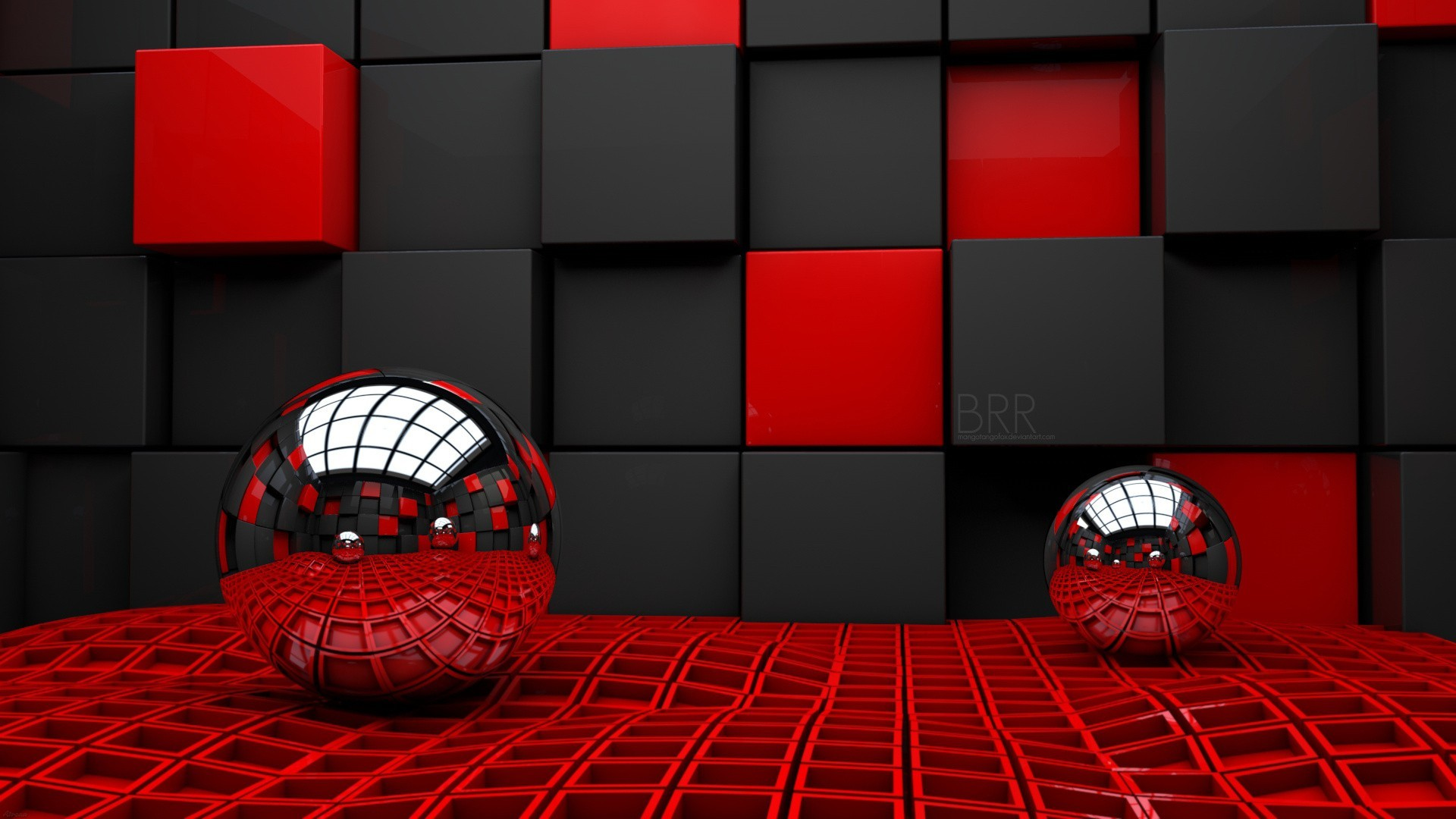 Abstract – 3D CGI Digital Abstract Black Red Metal Ball Wallpaper