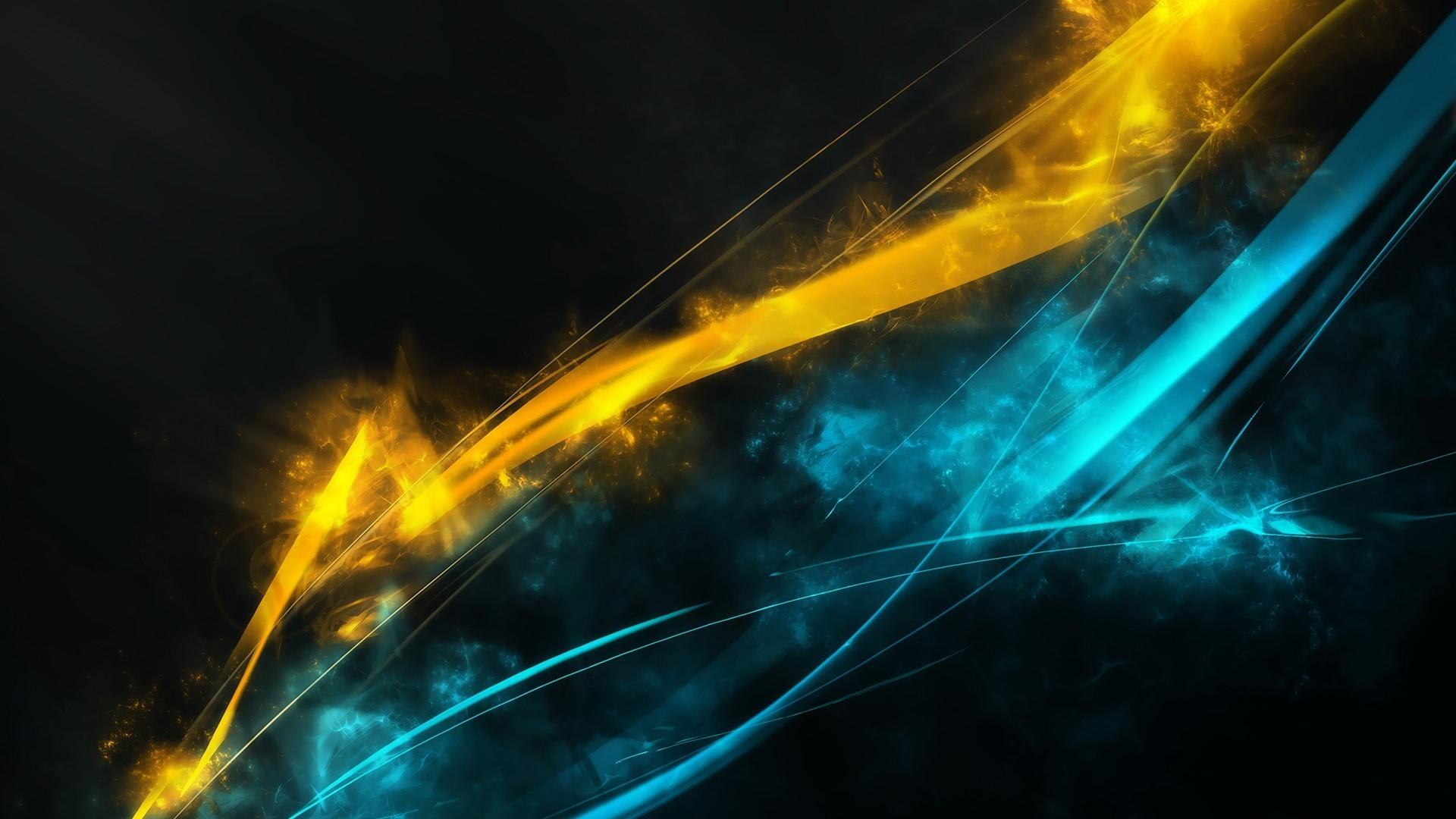 Digital Art, Yellow, Blue, Abstract
