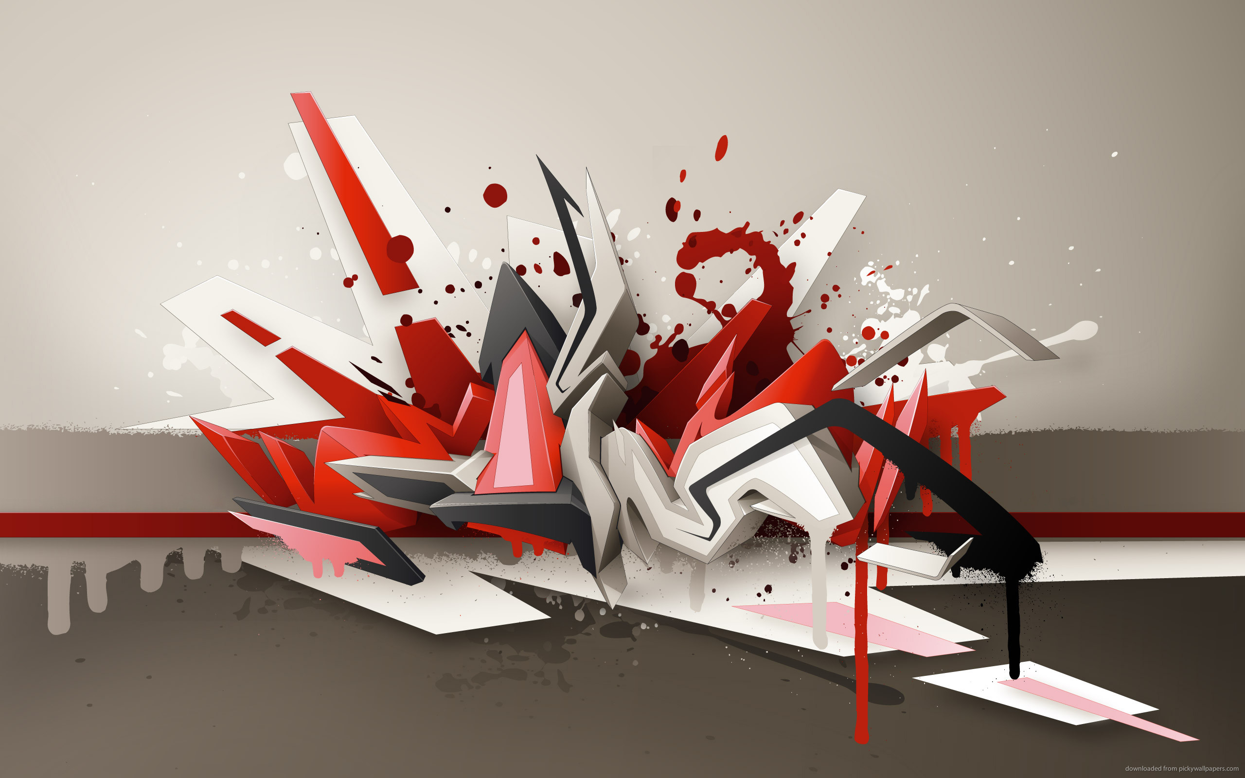 3D Graffiti On Grey Background for 2560×1600