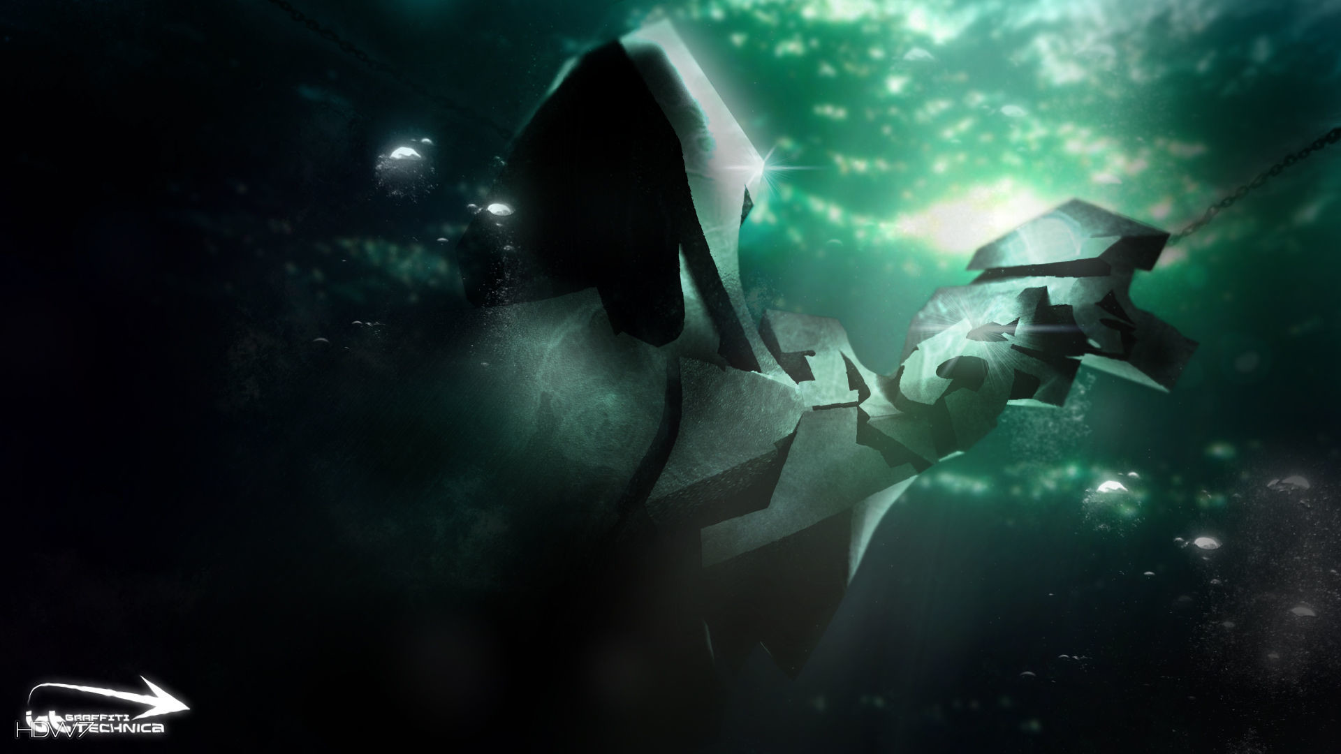 3d graffiti technica abstract green underwater