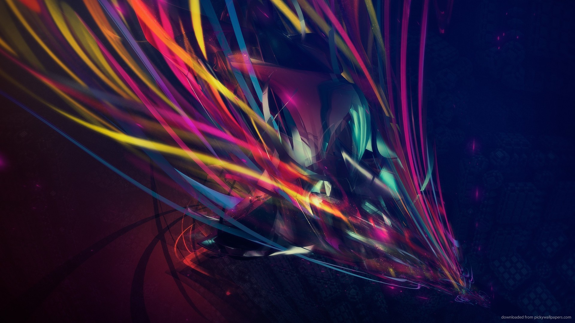 1366×768 Abstract Colored Threads wallpaper