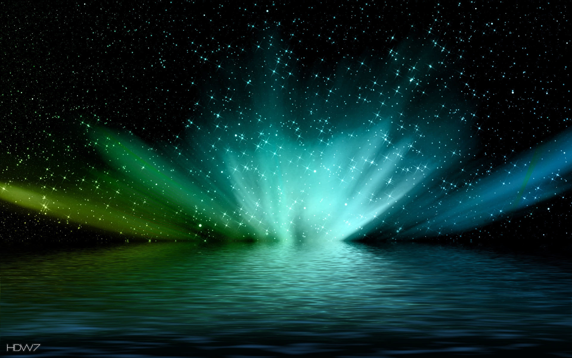 green lights in space wallpaper abstract