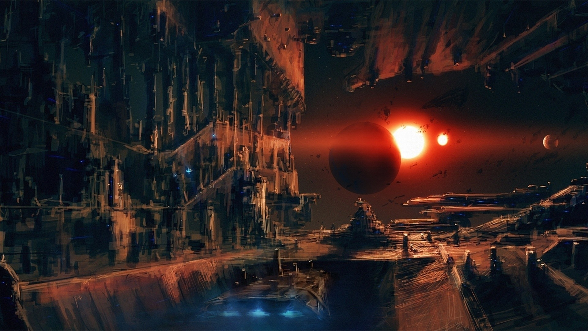 Abstract Futuristic Outer Space Planets Ruins …