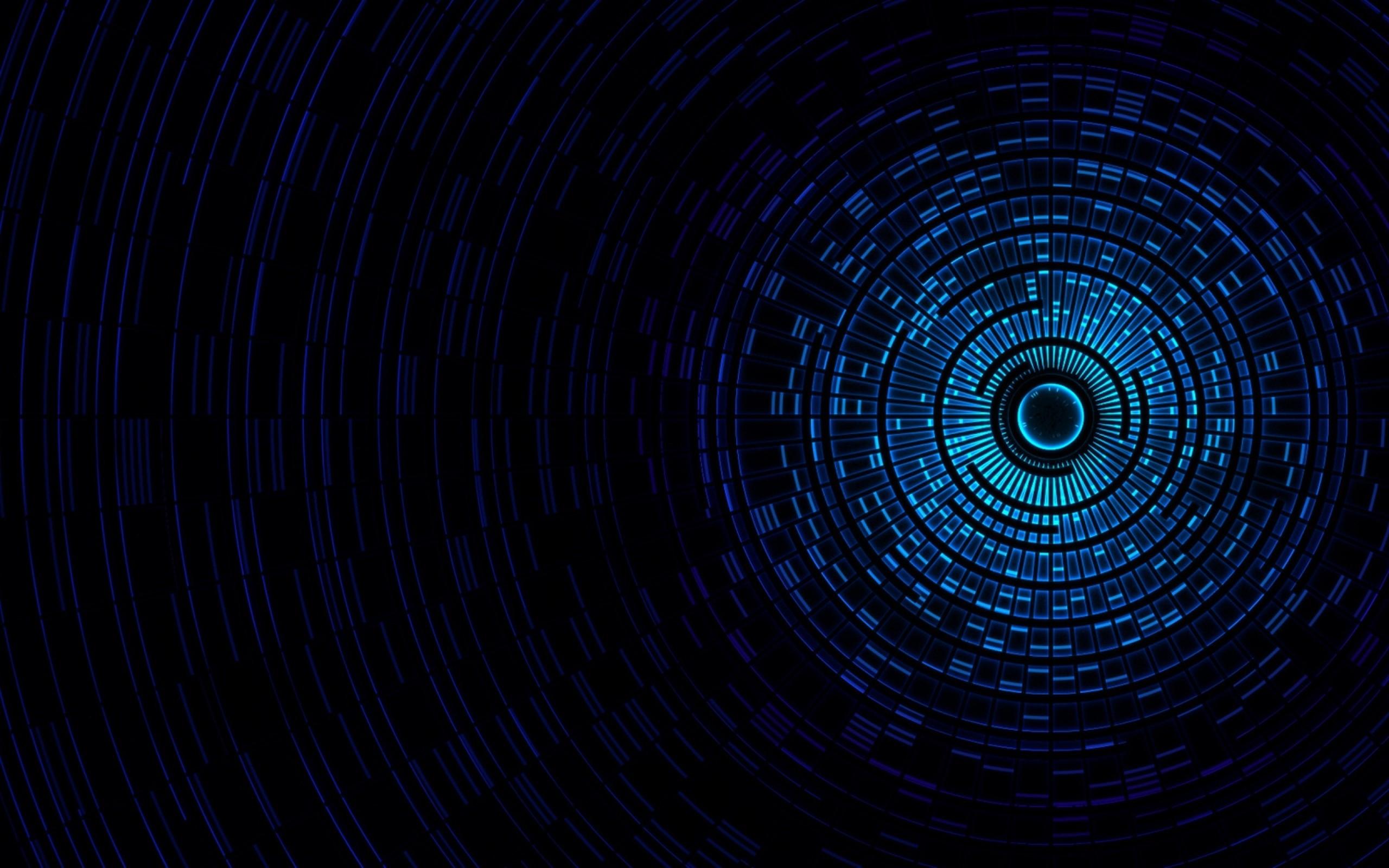Dark Blue Circles Music Sound Abstract Techno