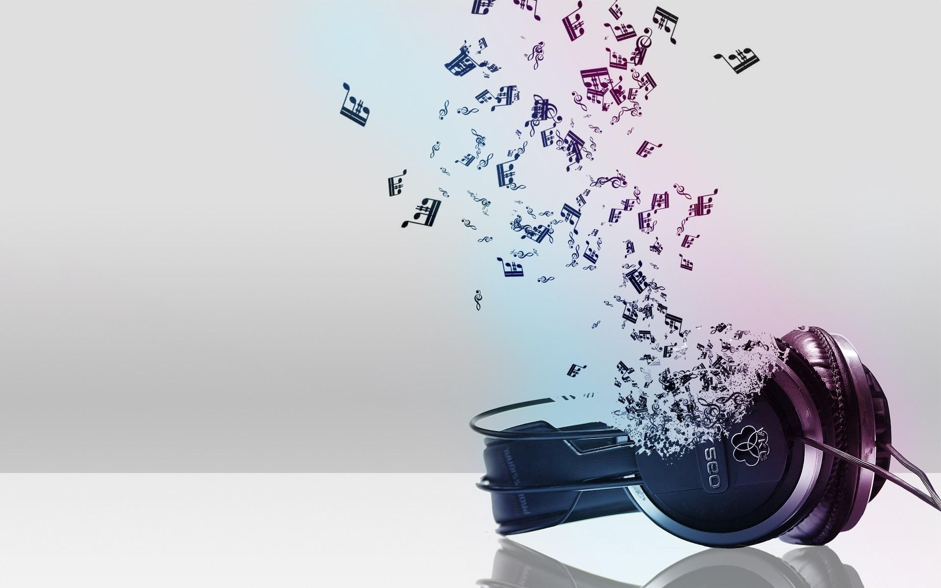 3D Headphone Music Notes Wallpaper