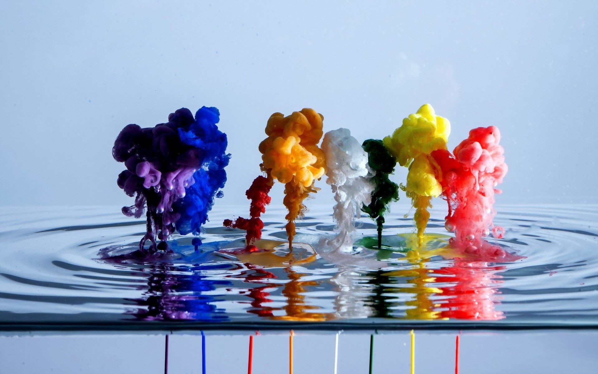 Digital abstract color ink flow wallpaper