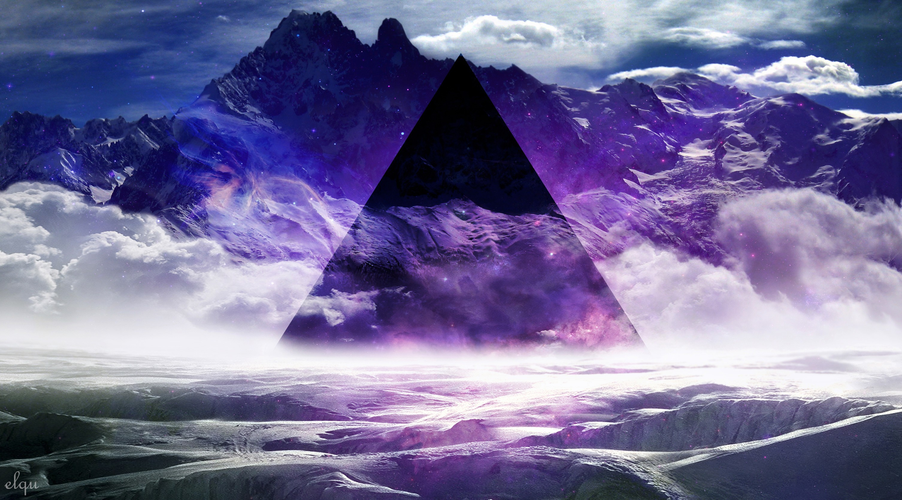 Wallpapers :: abstract, mountains, smoke, purple, mist, geometry .