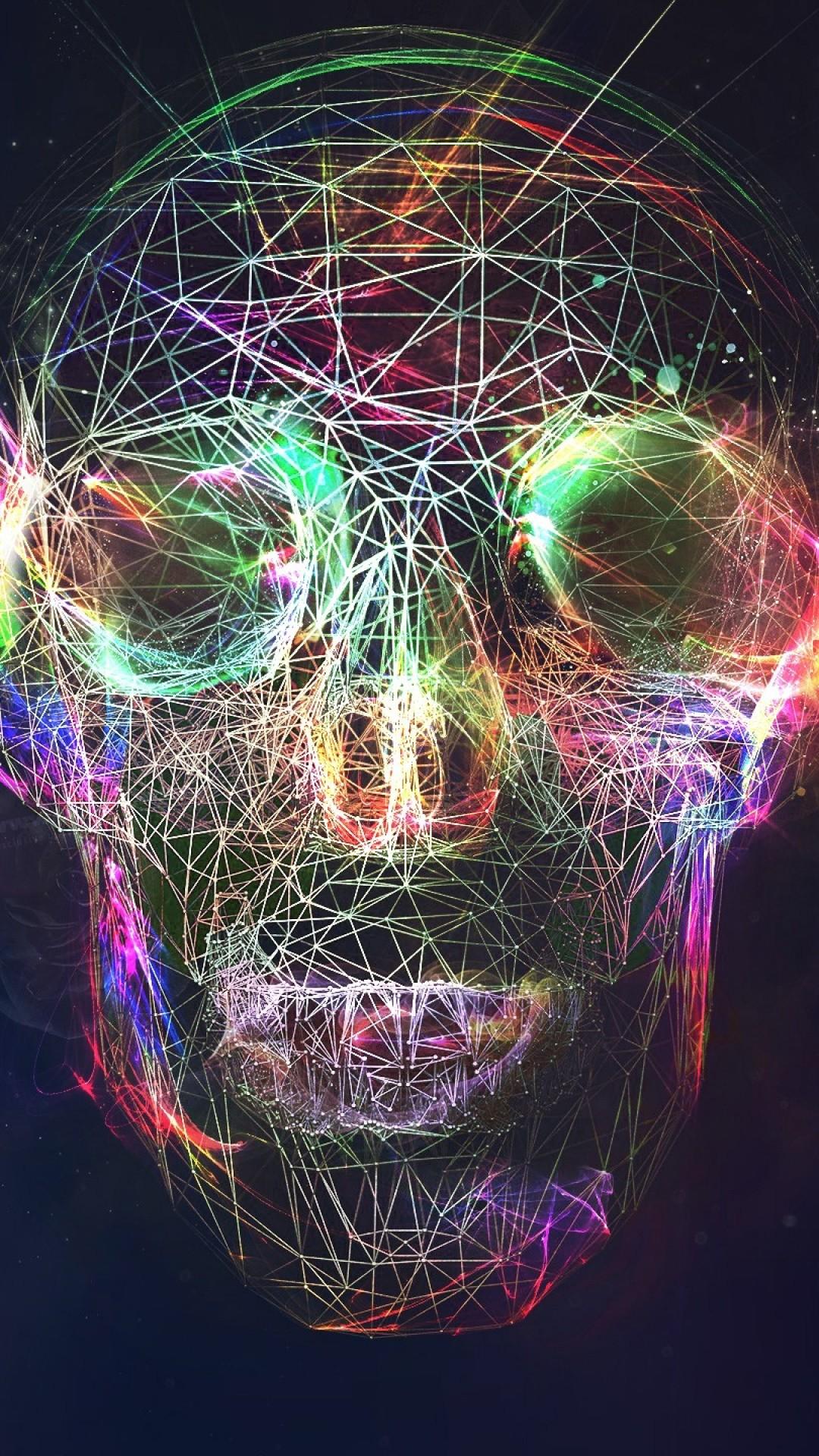 Wallpaper skull, abstract, bright, background
