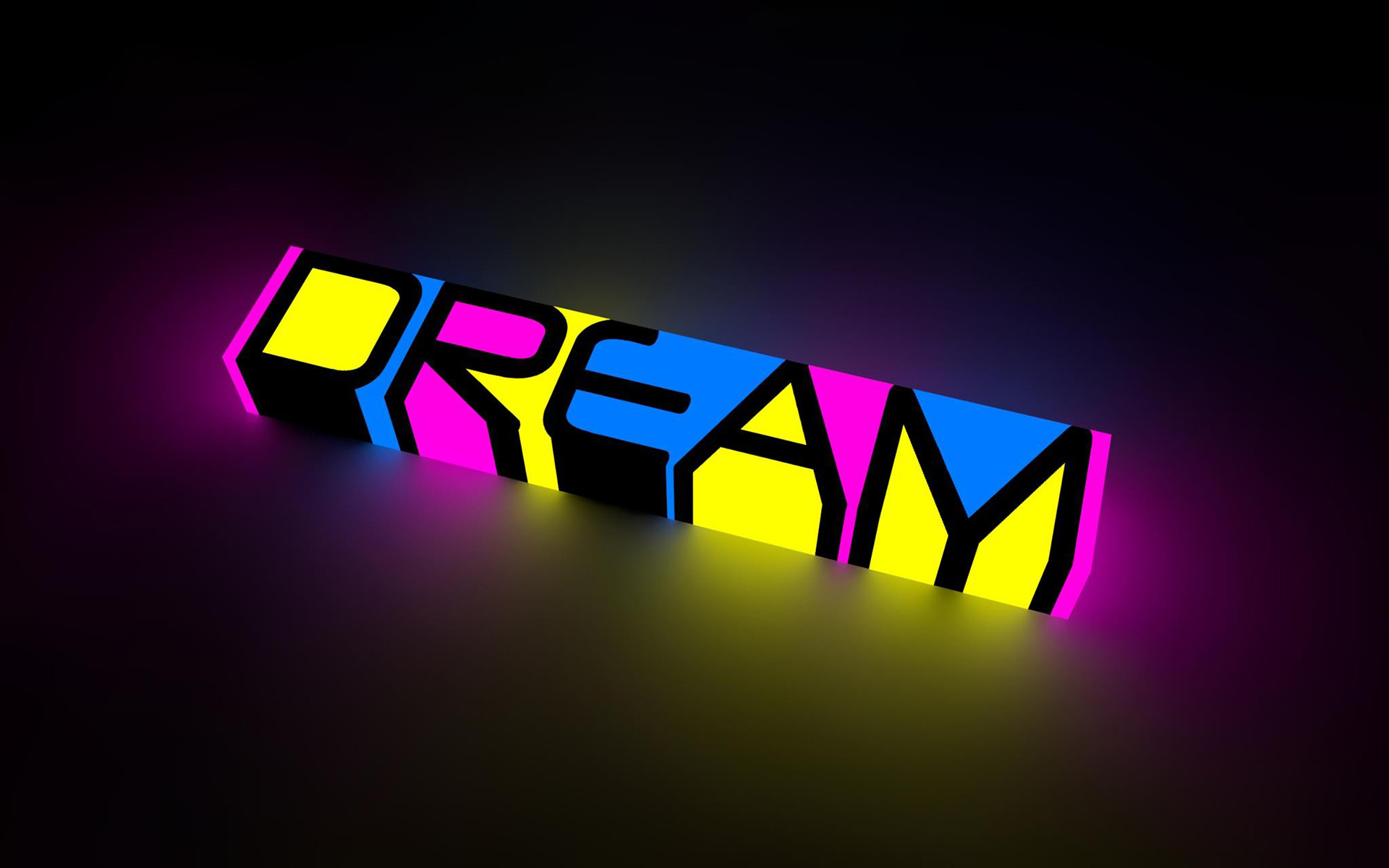 abstract dream color neon bright words letters motivational .
