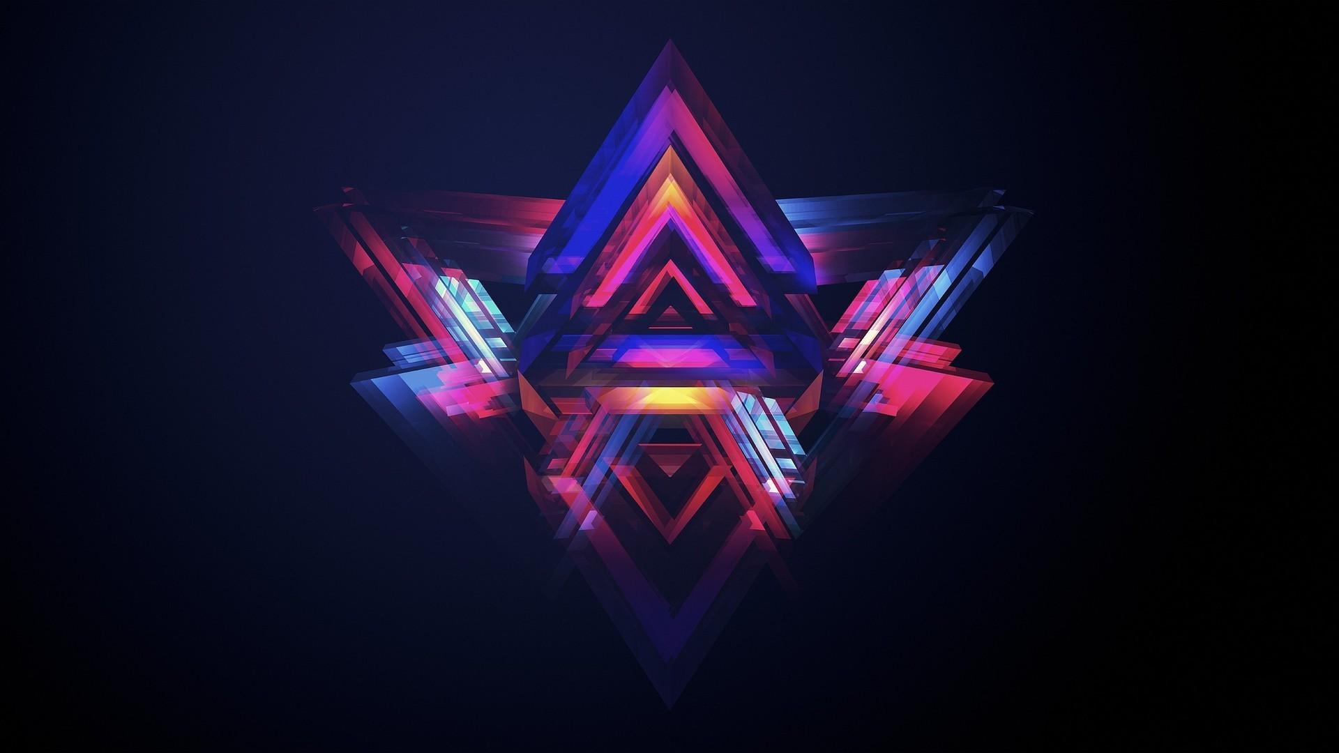 neon pyramids abstract hd wallpaper 1920×1080 3371. ««