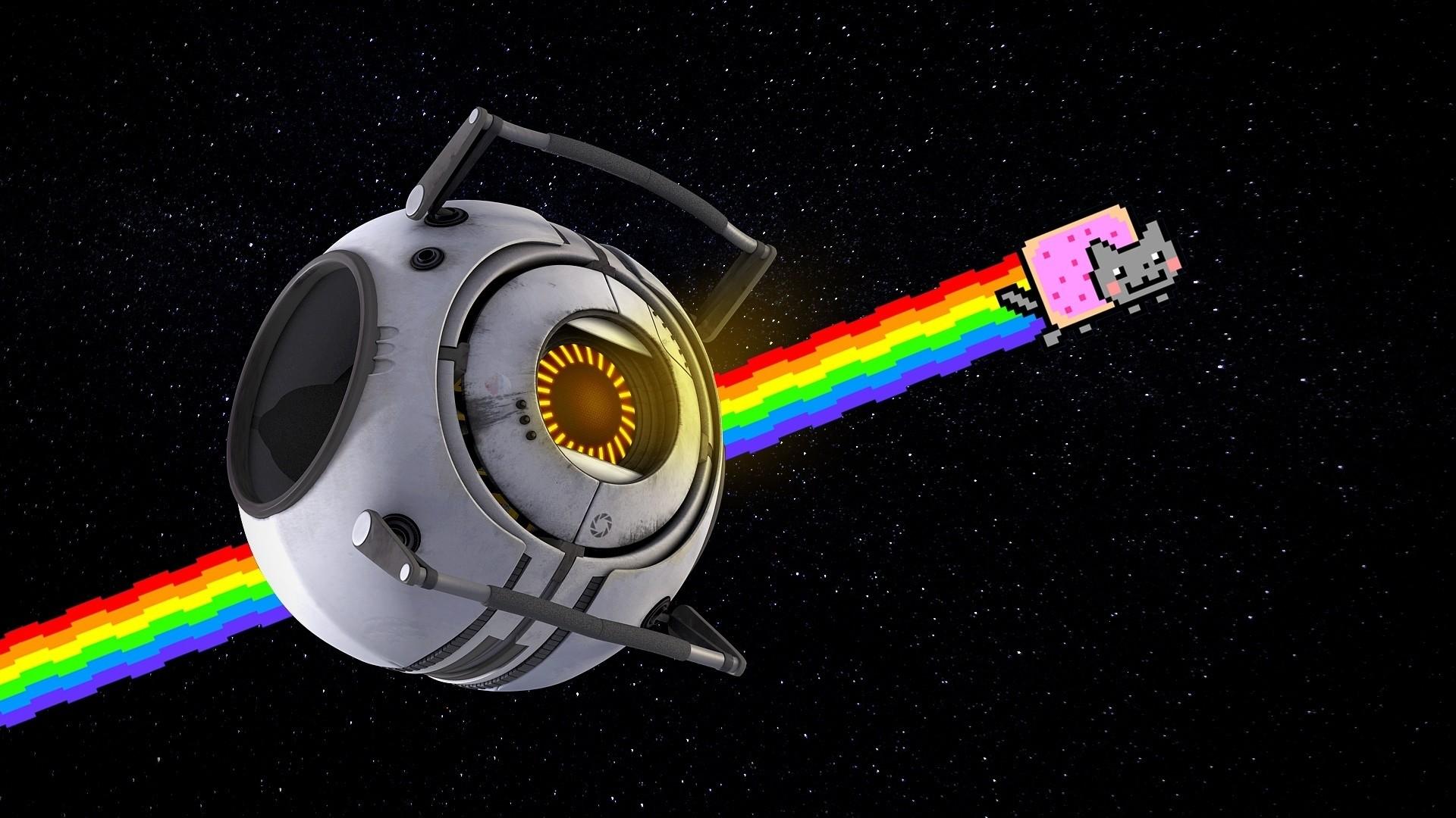 Nyan Cat Rainbow Positive Space portal cartoon sci-fi stars humor .
