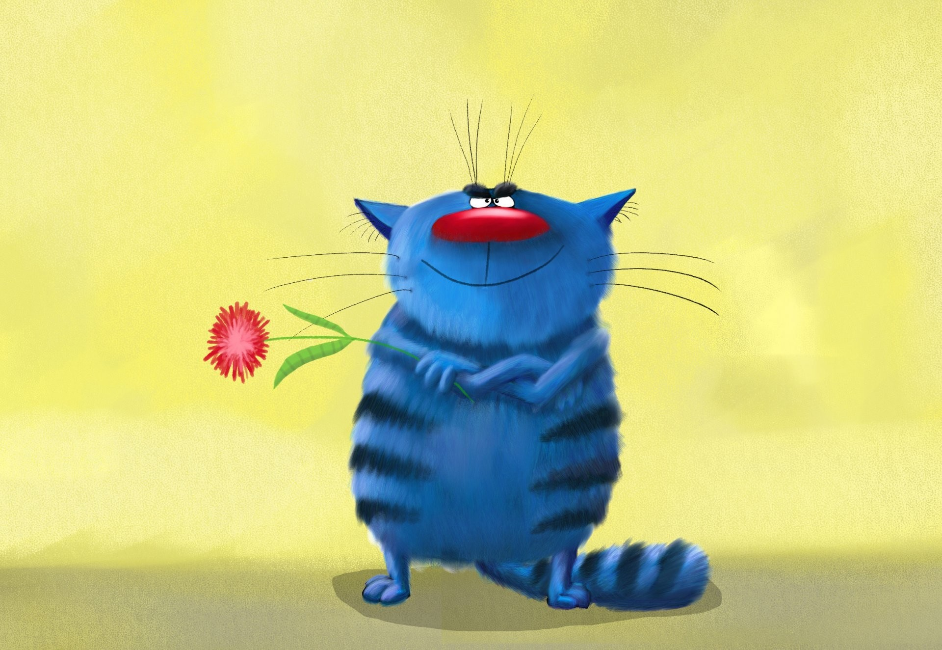 art painting pattern painting cat funny striped blue cool cat smiles holds  in the paws flower