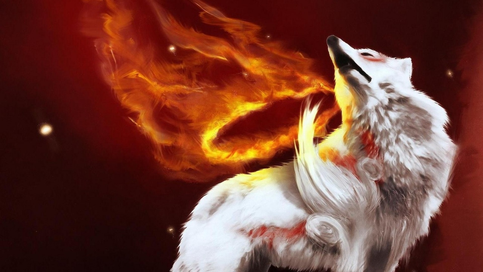 … Background Full HD 1080p. Wallpaper abstraction, fire, wolf,  gray, light