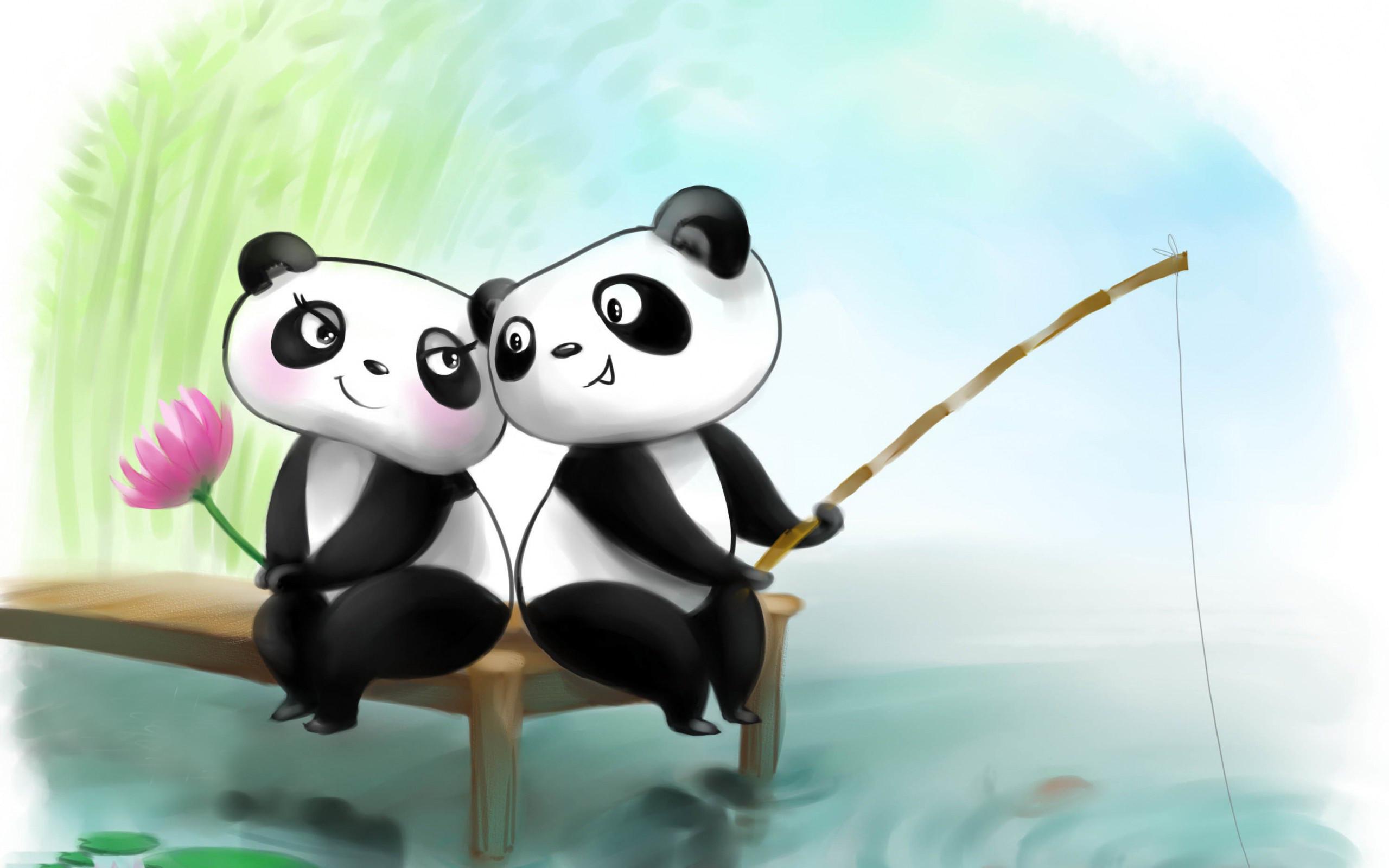 Romantic panda couple high definition wallpapers