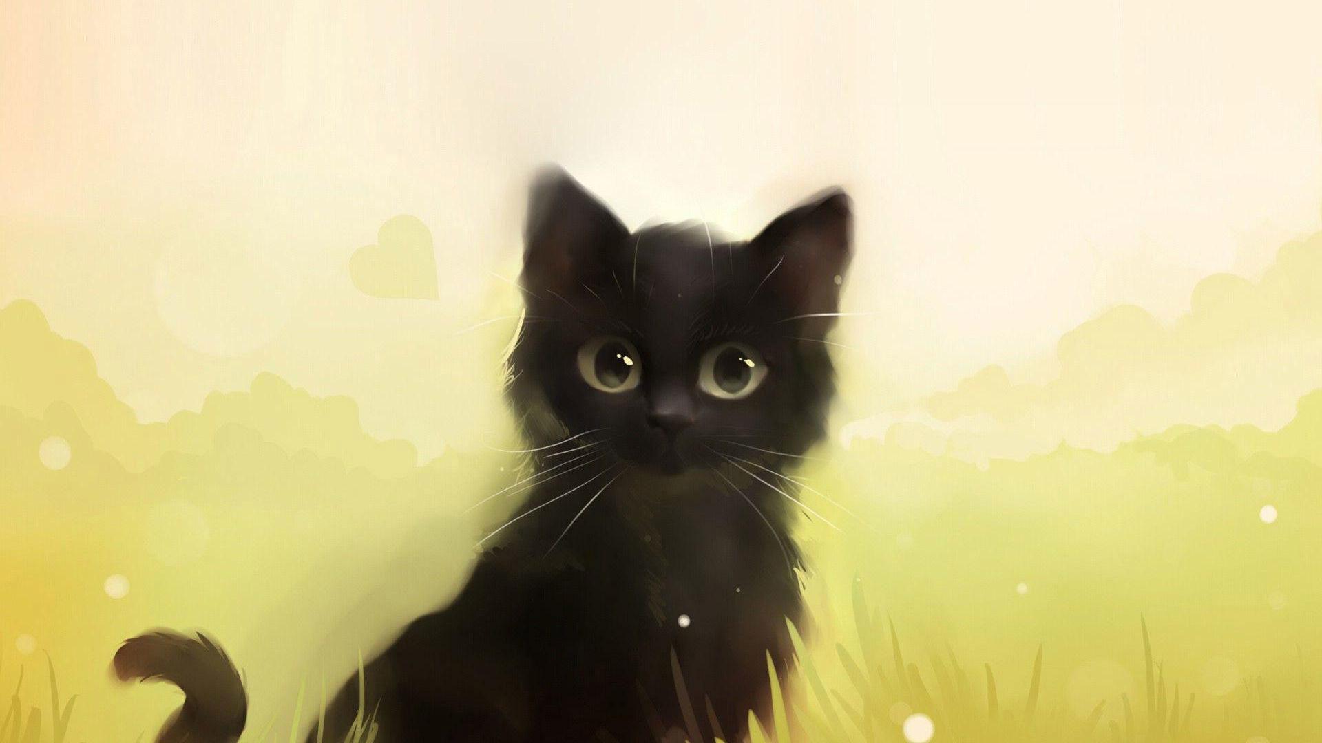 Cute animated black cat – photo#21
