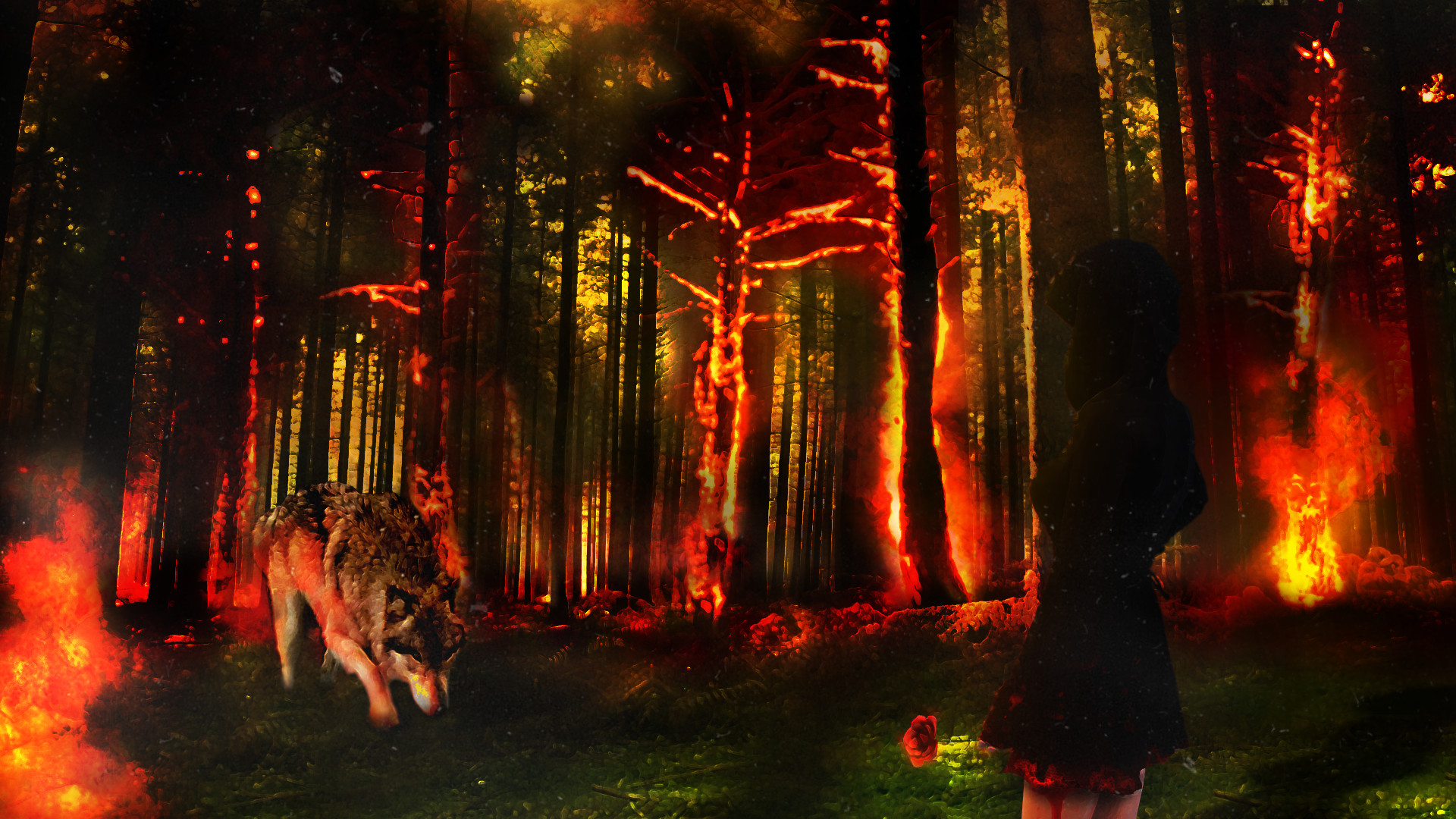Fantasy – Wolf Woman Blood Rose Forest Fire Wallpaper
