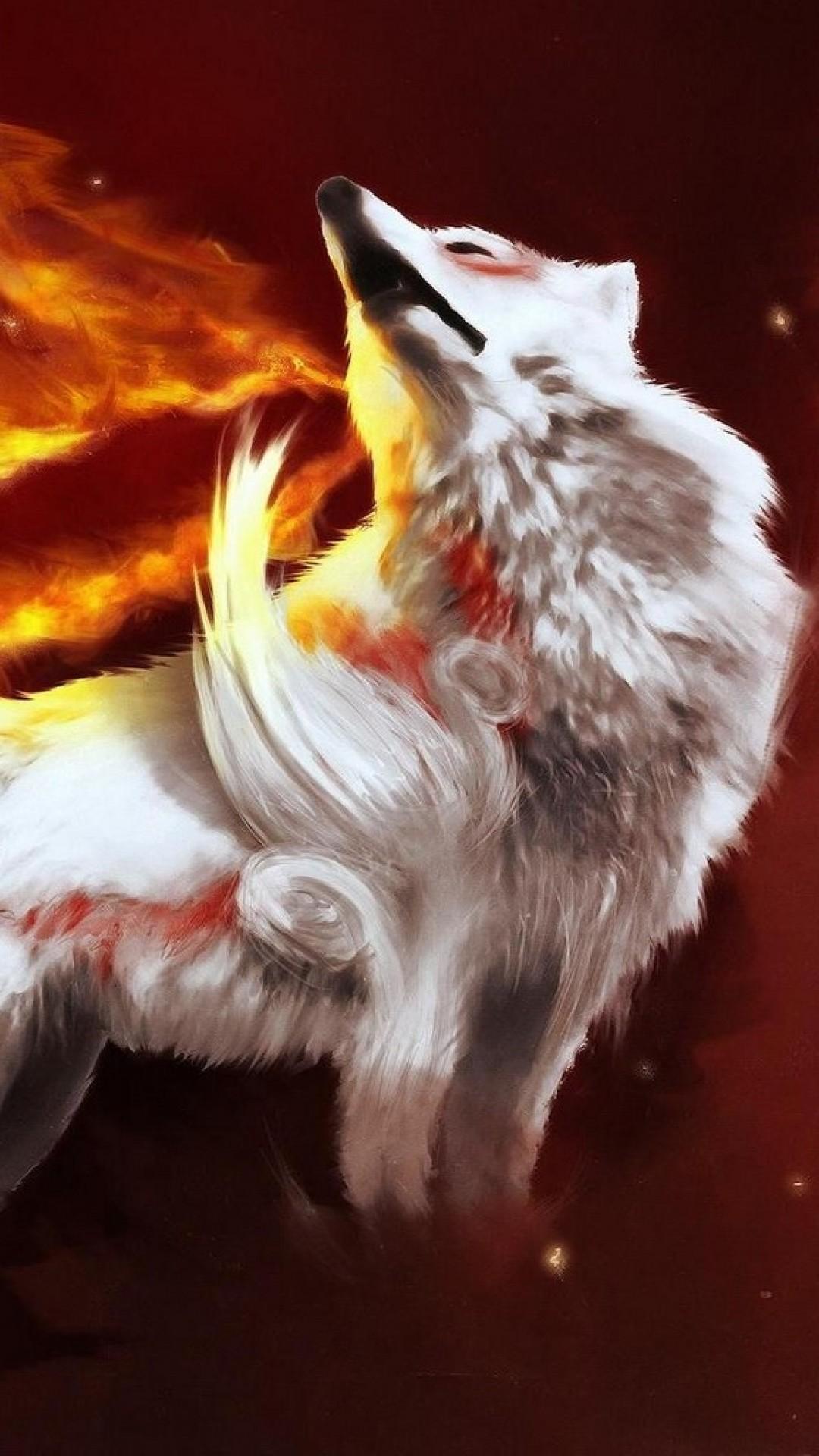 Wallpaper abstraction, fire, wolf, gray, light