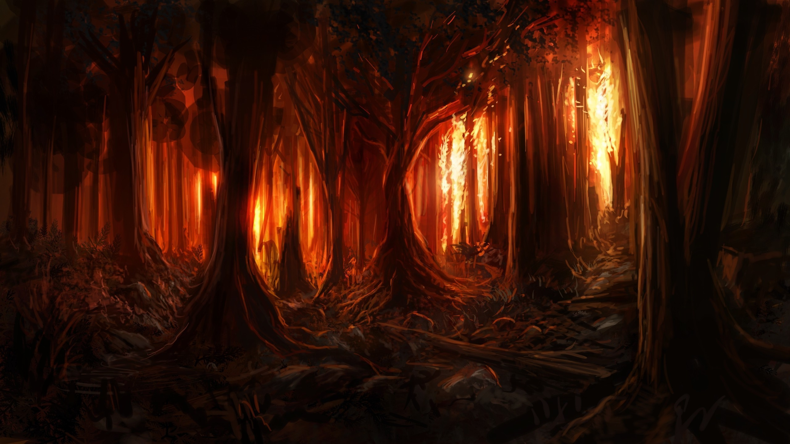 digital Art, Nature, Trees, Forest, Painting, Burning, Fire, Wood, Artwork,  Branch Wallpapers HD / Desktop and Mobile Backgrounds