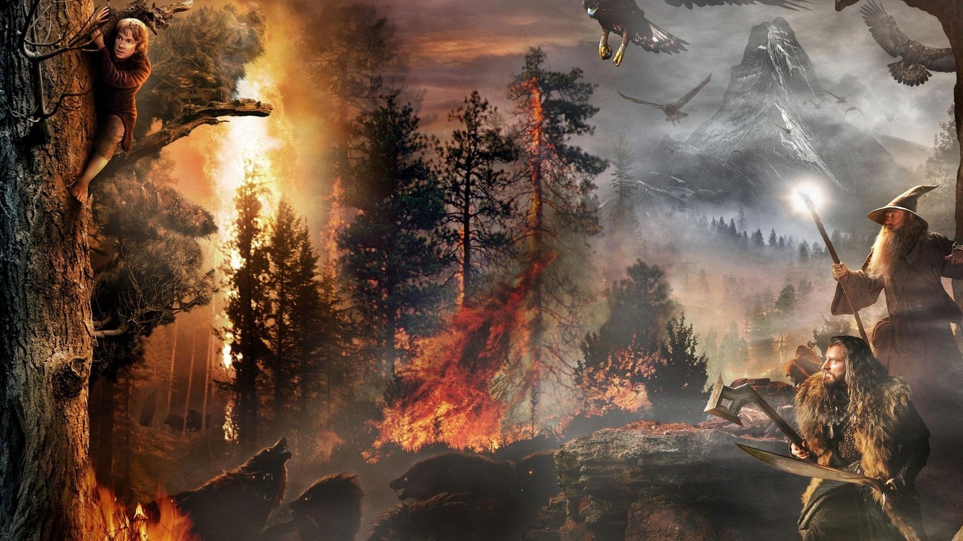 fantasy tree fire wolf hobbit