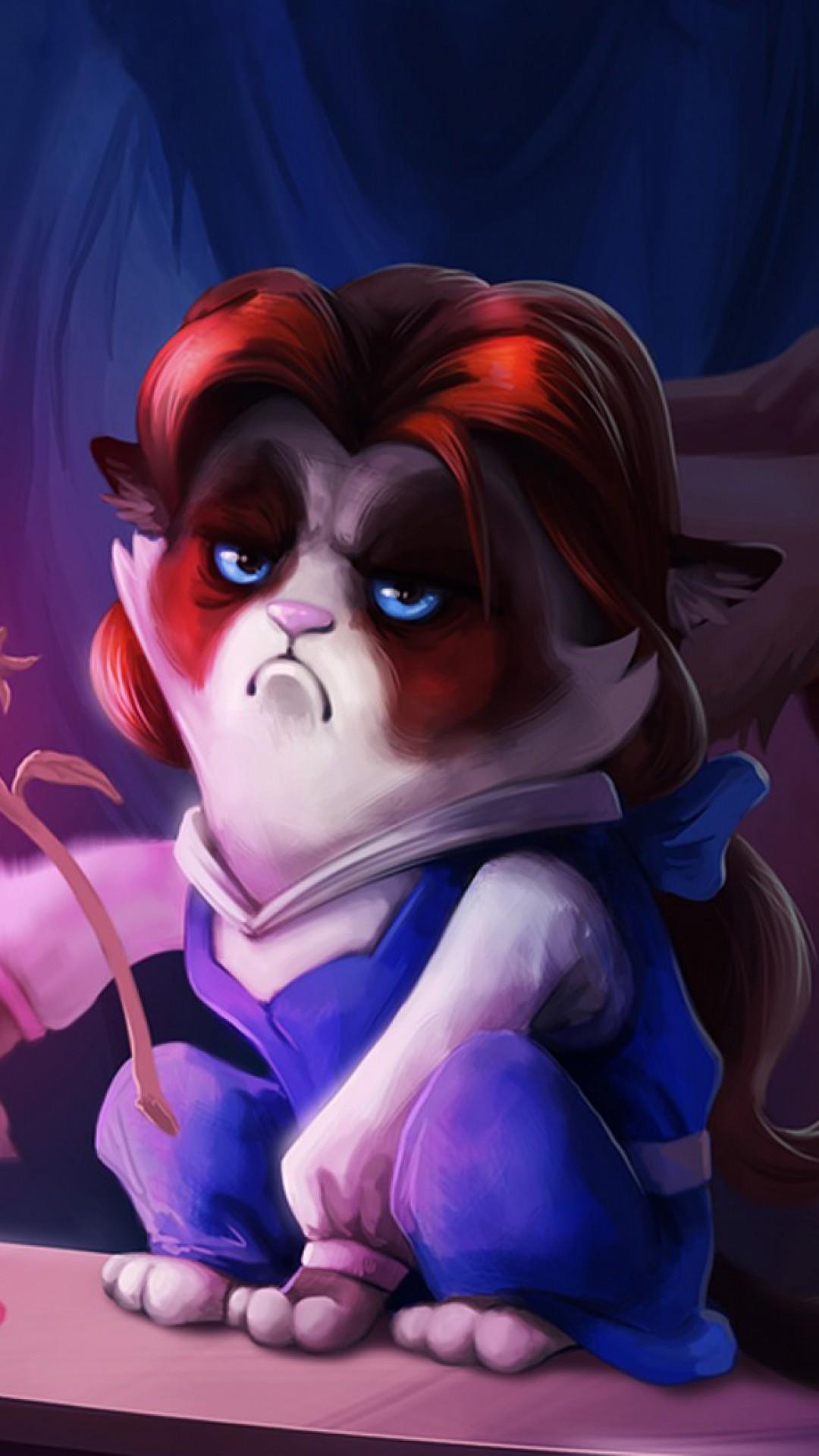 Preview wallpaper grumpy cat, cat, monster, cartoon 1080×1920
