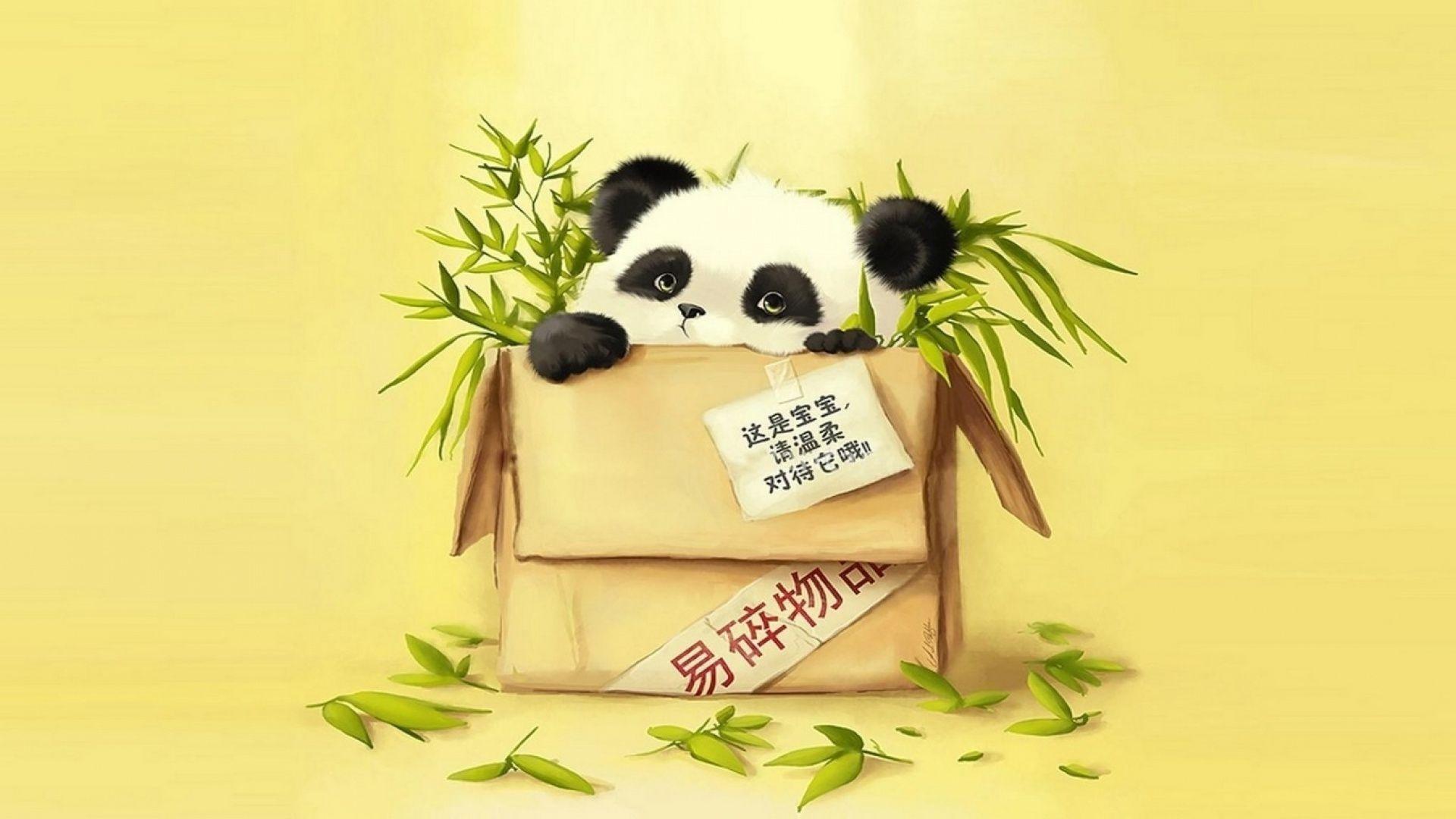 Wallpapers For > Cute Cartoon Panda Wallpaper