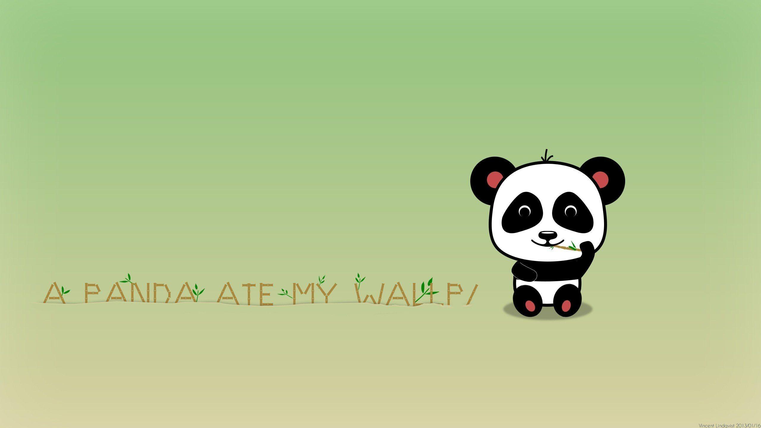 Cute Cartoon Panda Bears Wallpaper