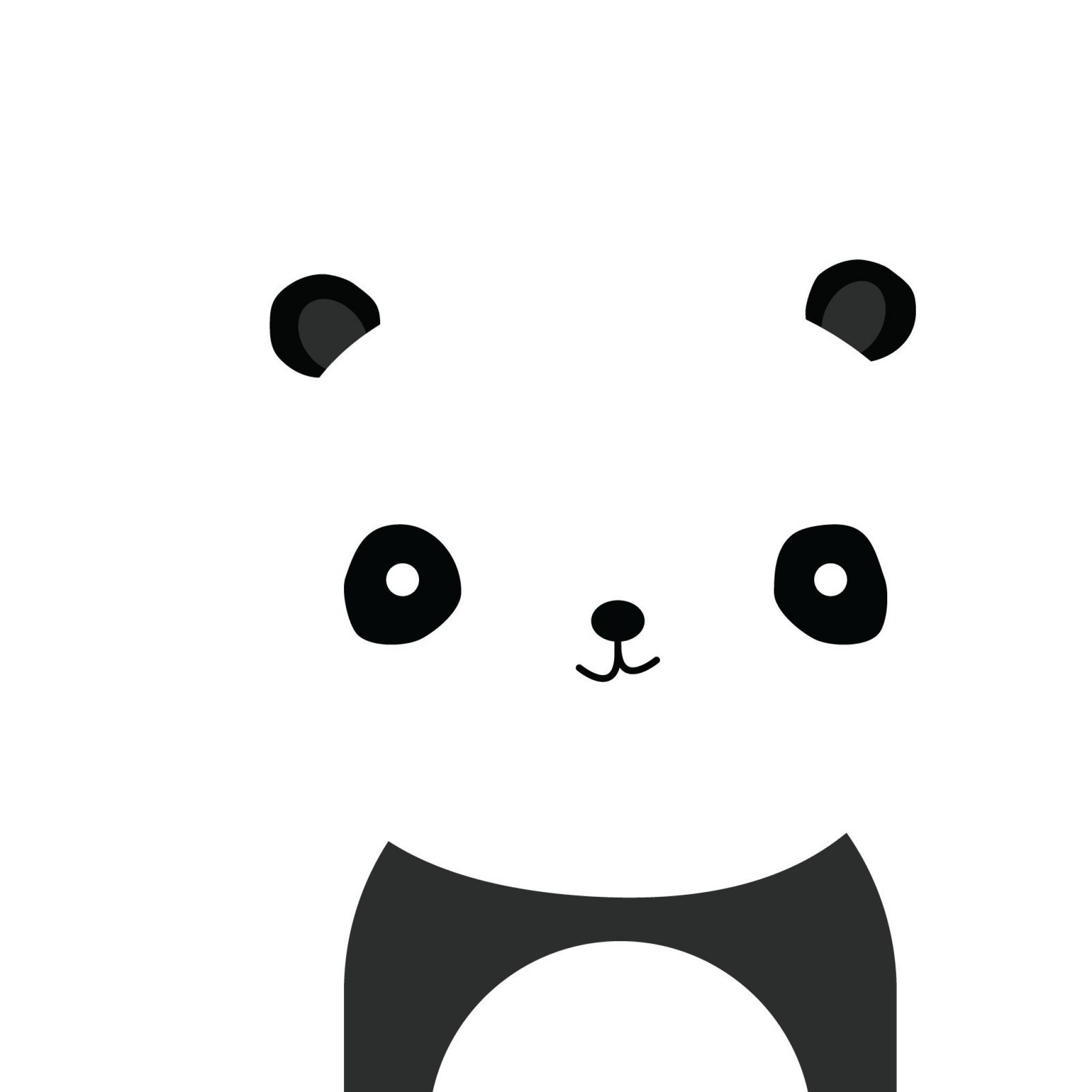 Preview wallpaper panda, smile, white, black, minimalist 2048×2048