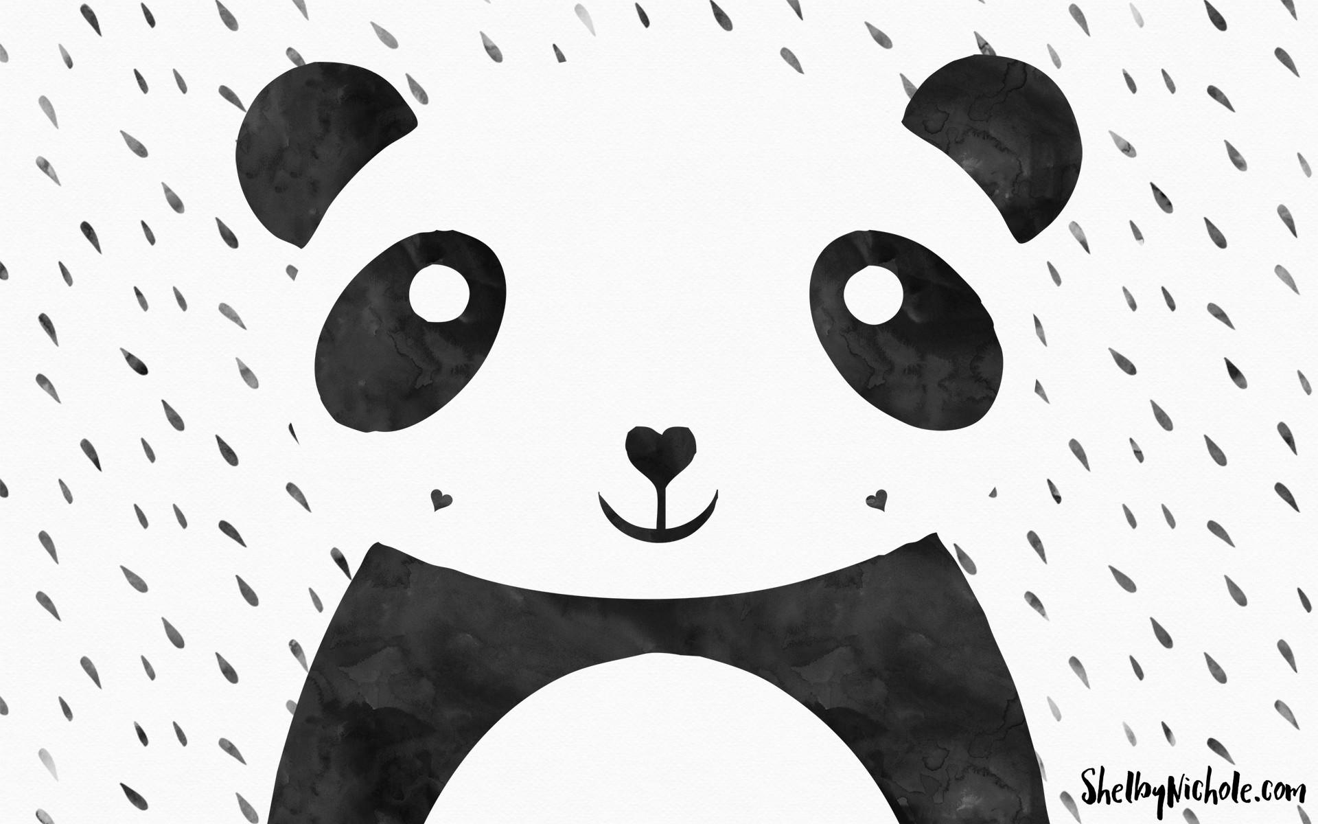 Free Watercolor Panda Desktop Wallpaper