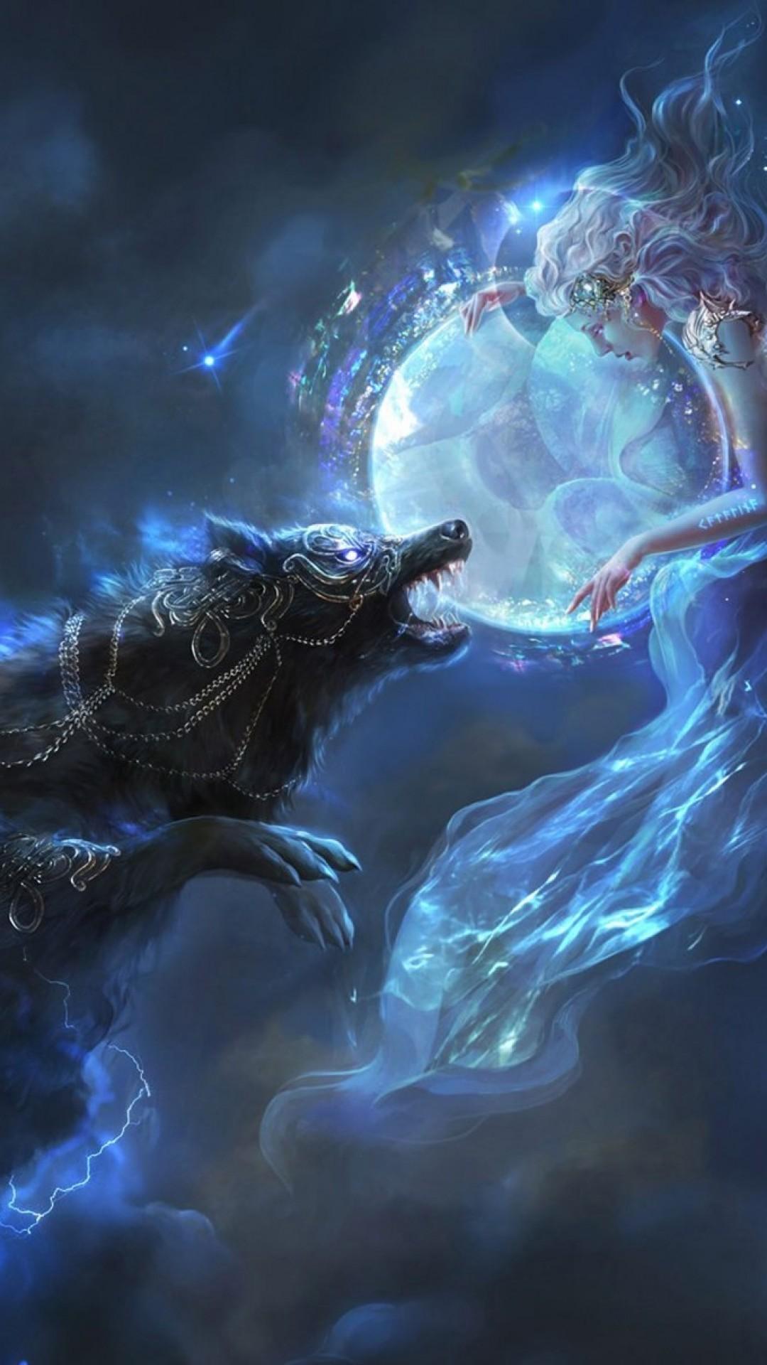 Fantasy Girl, Wolf, Lights, Stars, Magic