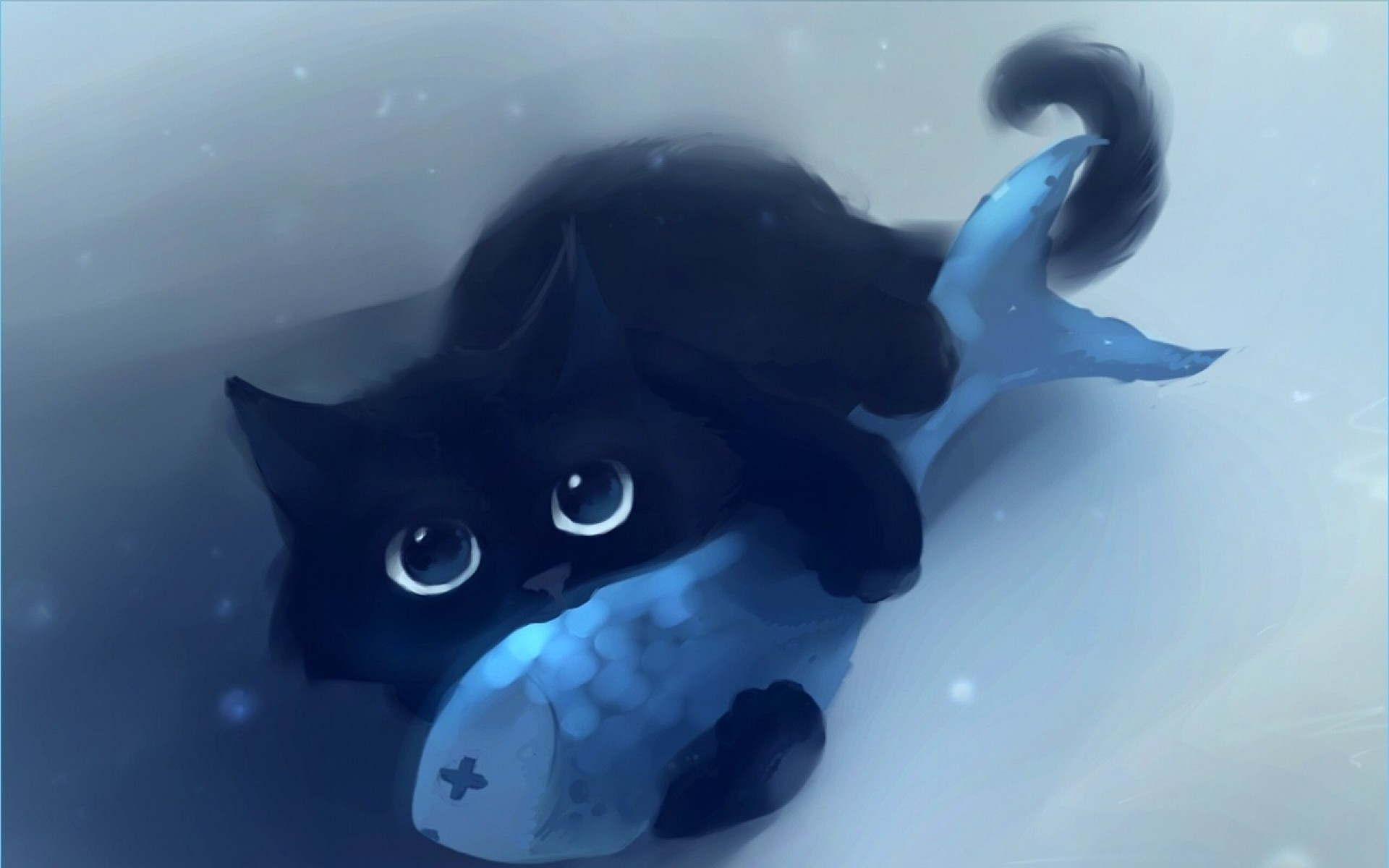Black Cat & Blue Fish desktop PC and Mac wallpaper
