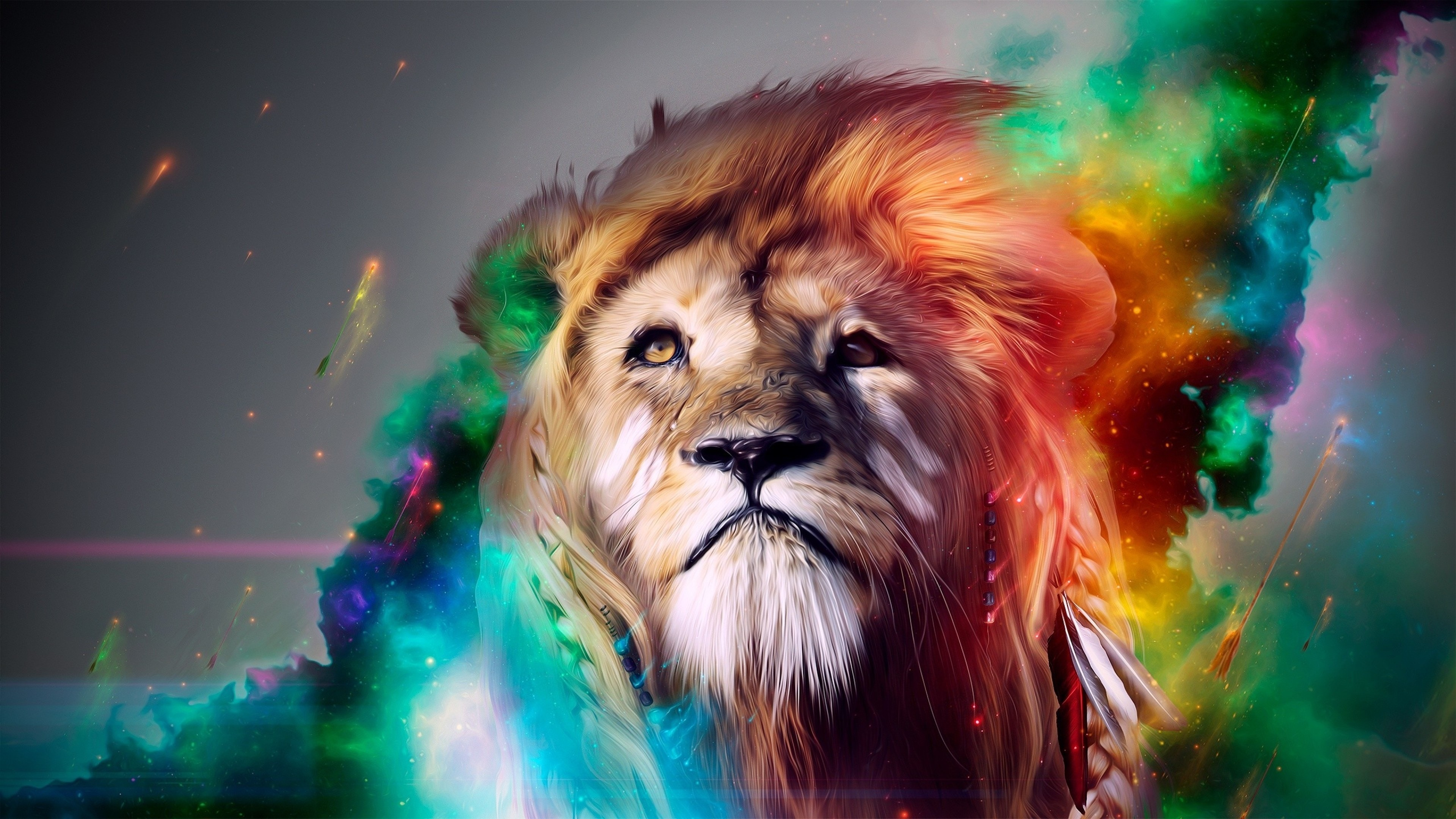 Preview wallpaper lion, big cat, face, smoke, colored 3840×2160