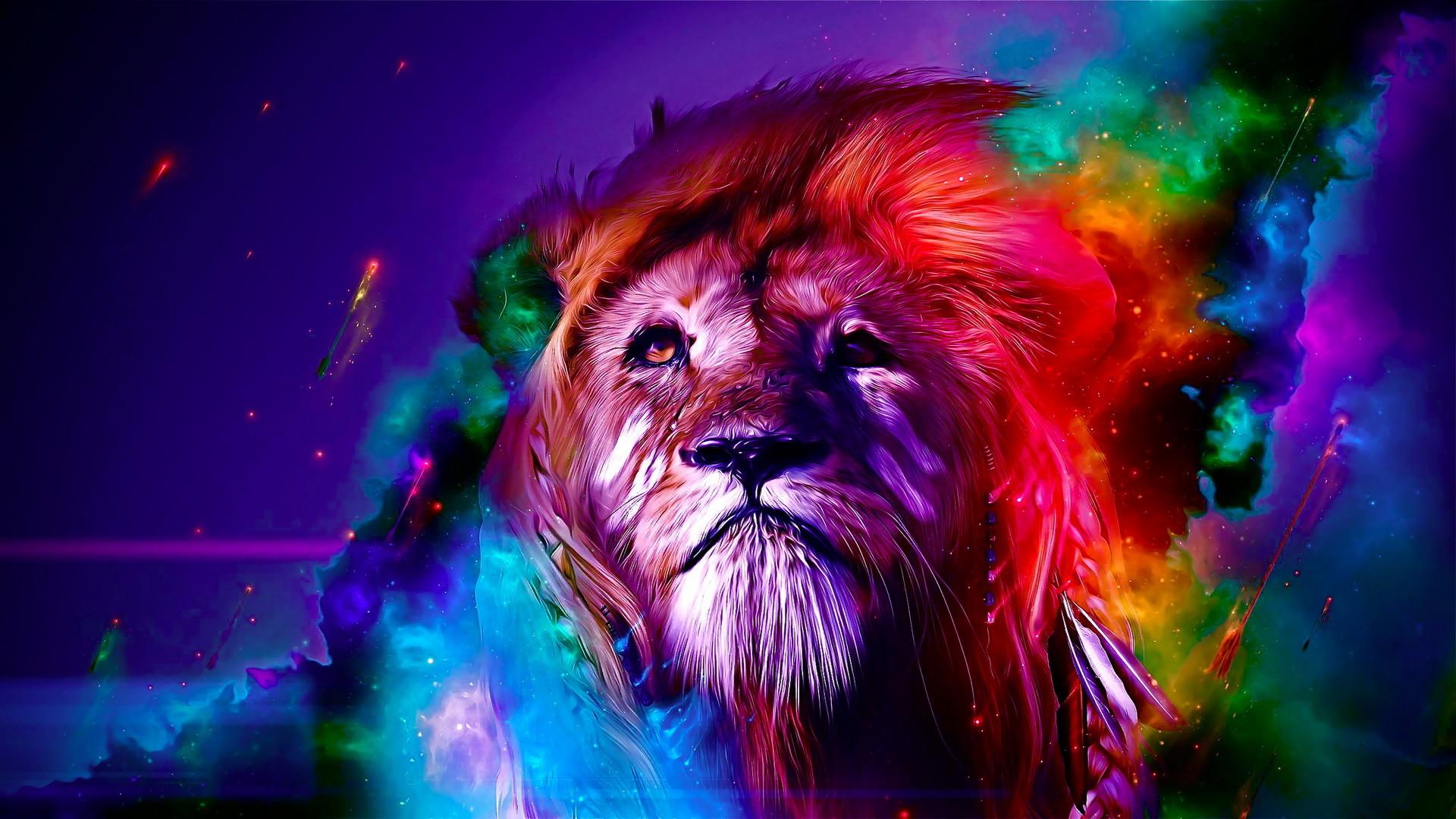 创意狮子彩绘高清win7壁纸下载_高清精选桌面壁纸 .