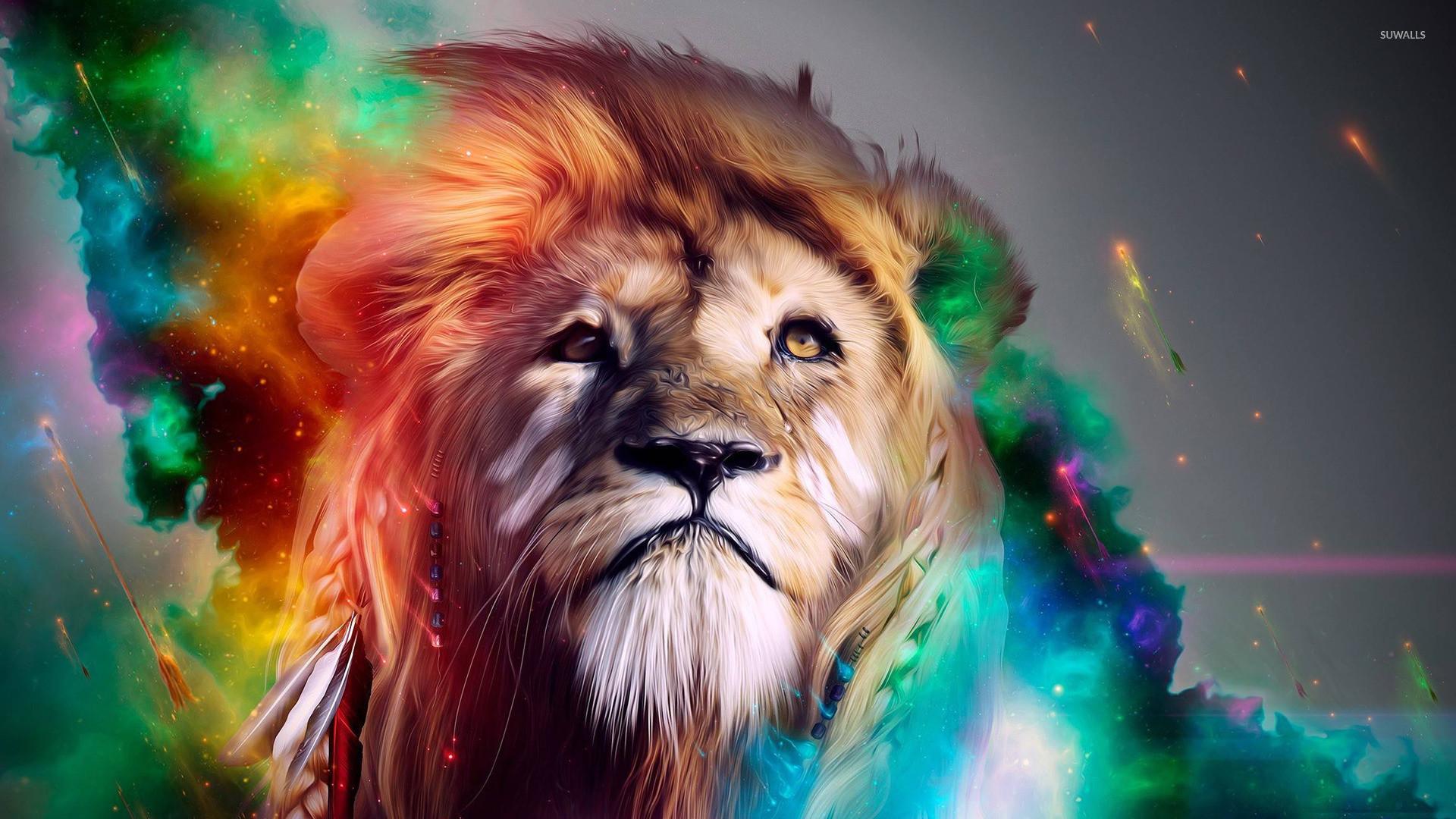 Colorful lion wallpaper – Digital Art wallpapers – #15854