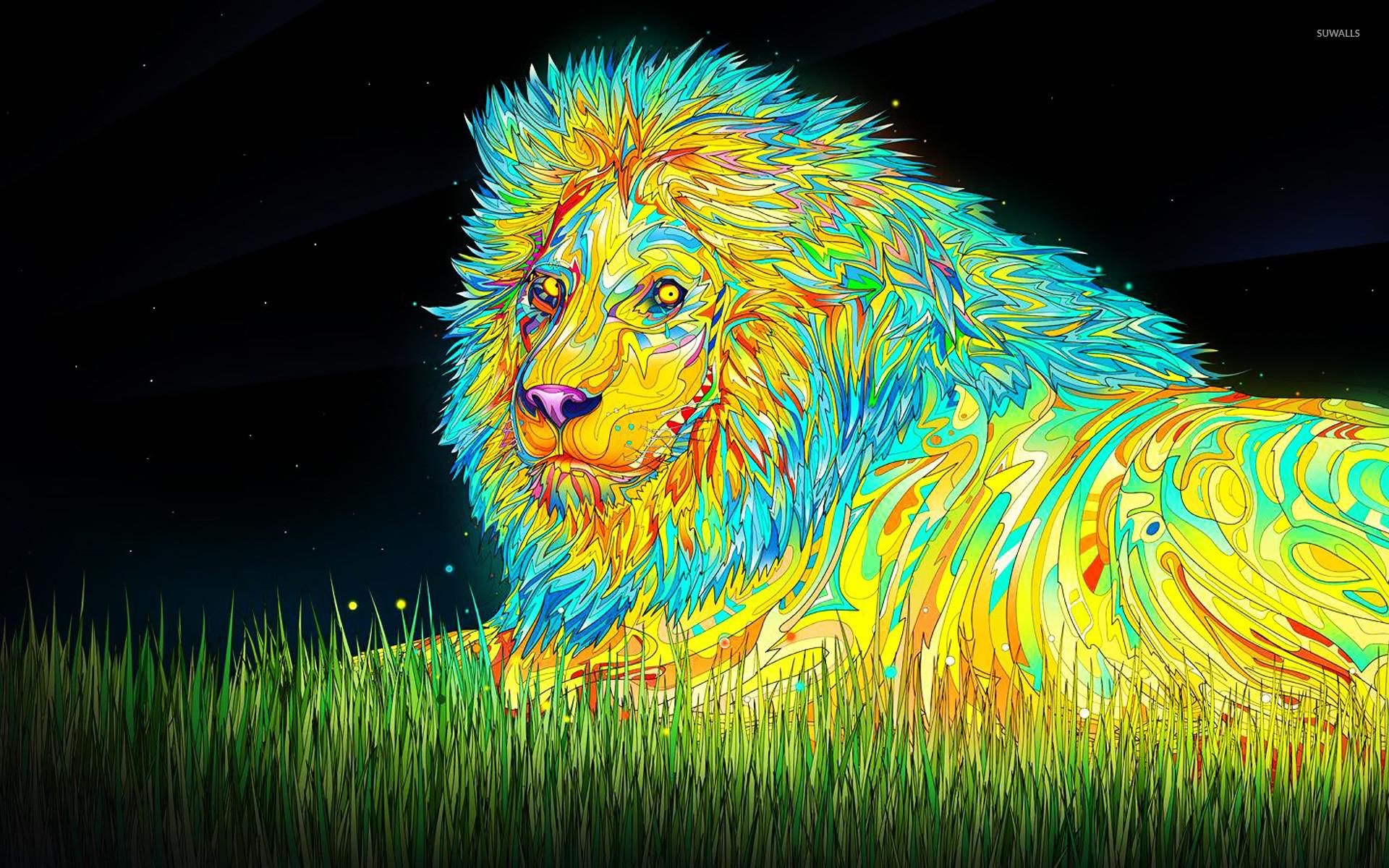 Psychoactive lion wallpaper