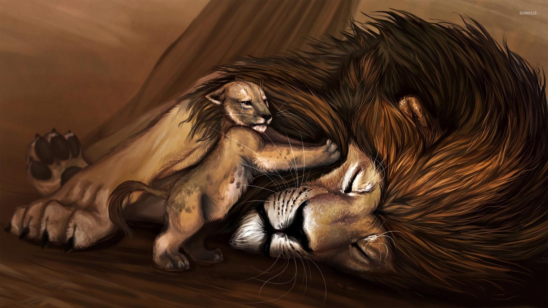Cub waking up lion wallpaper jpg