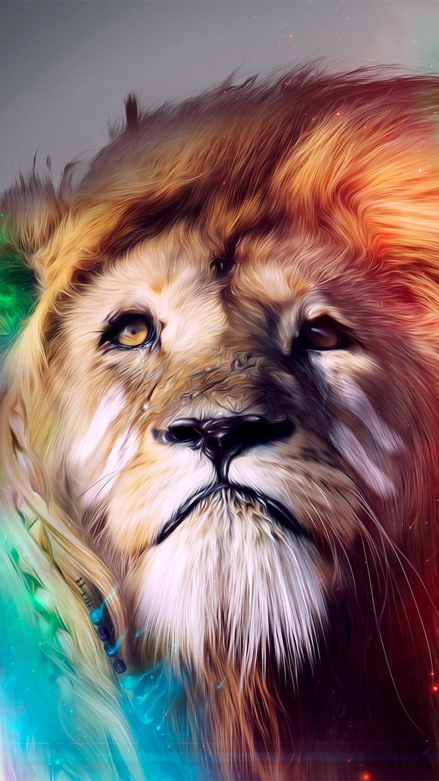Wallpaper lion, big cat, face, smoke, colored