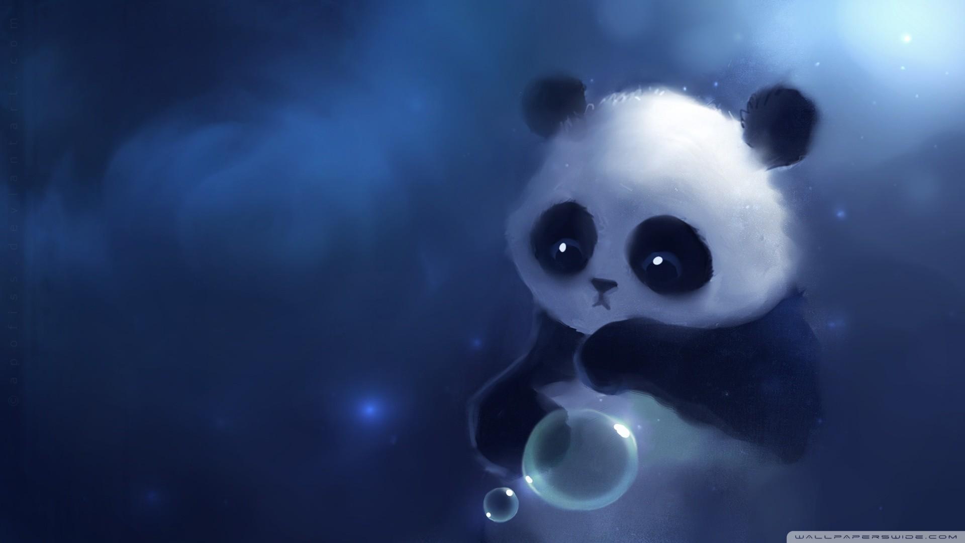 Sad Panda Painting HD Wide Wallpaper for Widescreen