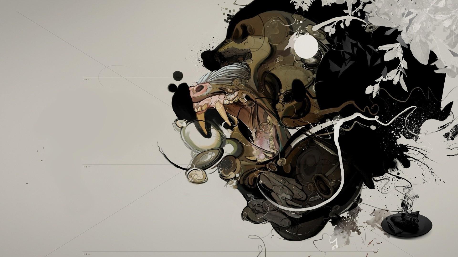 Preview wallpaper monkey, processing, minimalism, spots 1920×1080