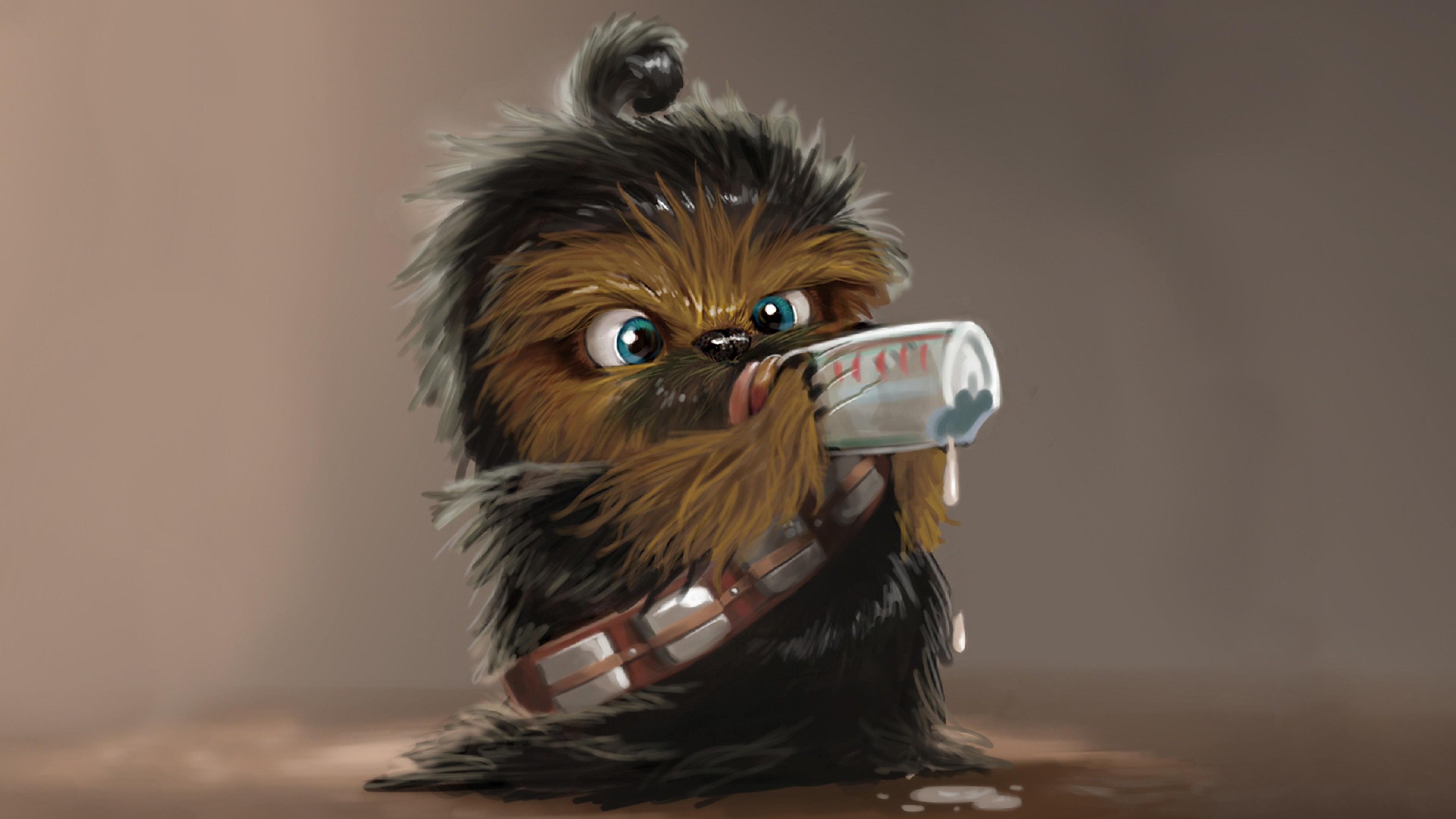 Star wars, Chewbacca, Drink, Baby Wallpaper, Background 4K Ultra .
