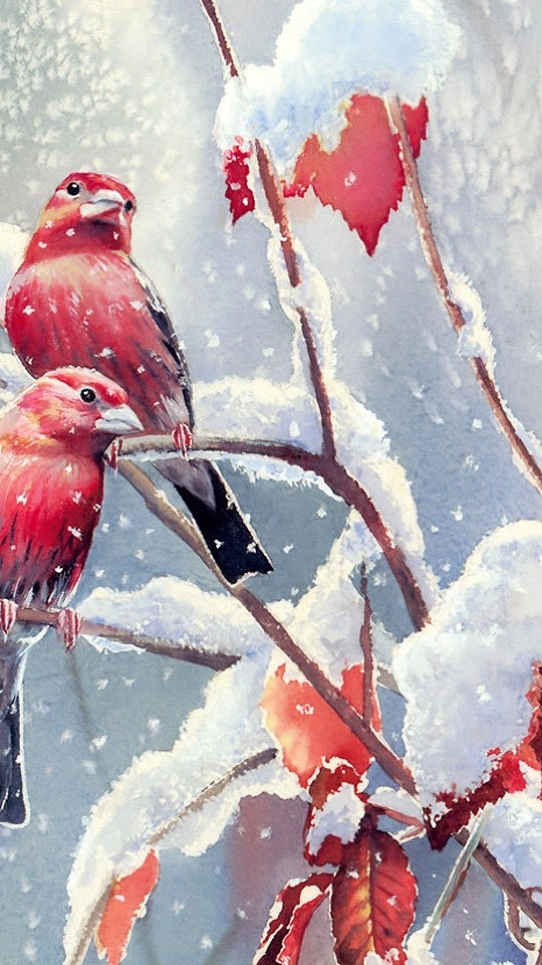 Red Birds Snow Branches Leaves
