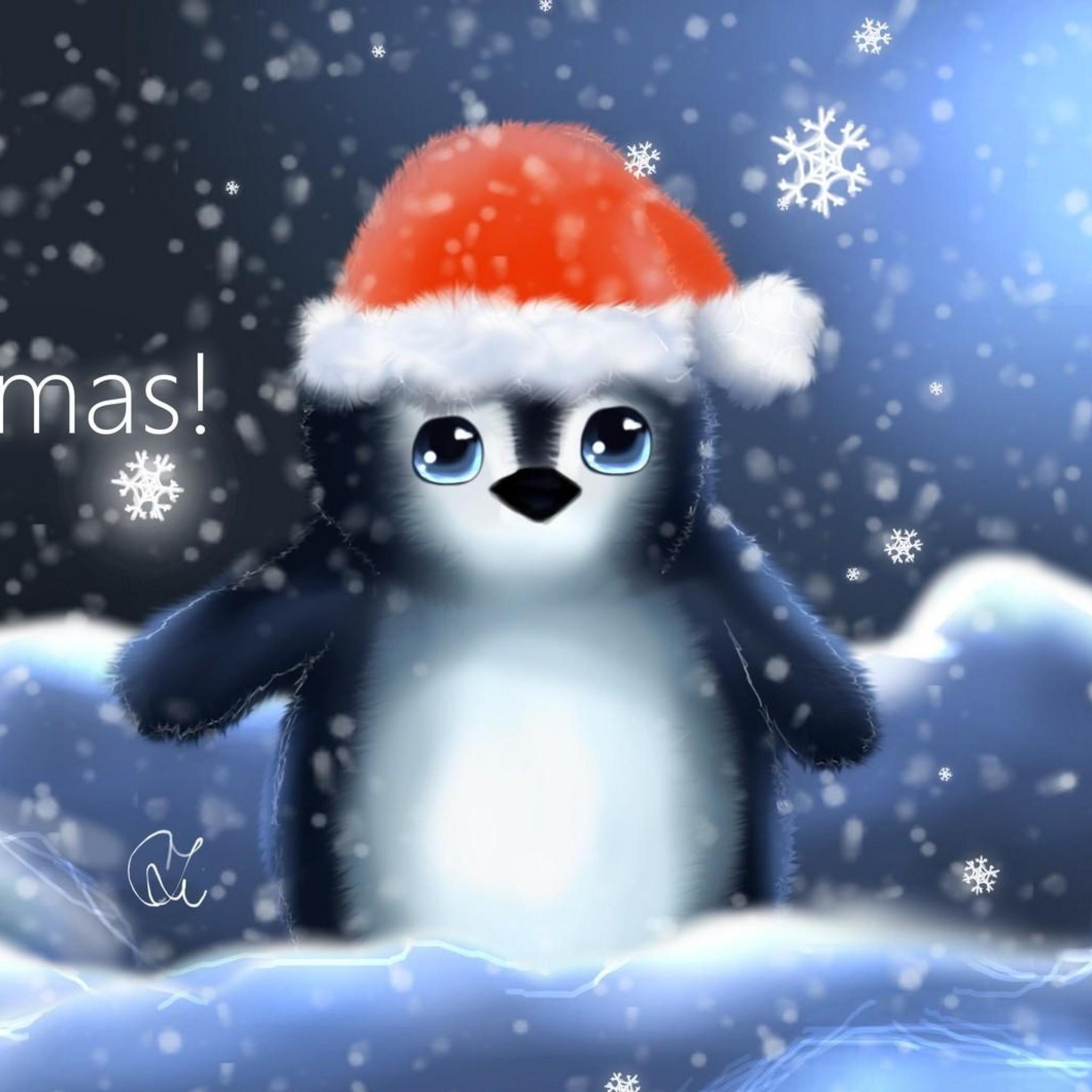 Preview wallpaper penguin, hat, cub, snowflakes, christmas, inscription  2048×2048