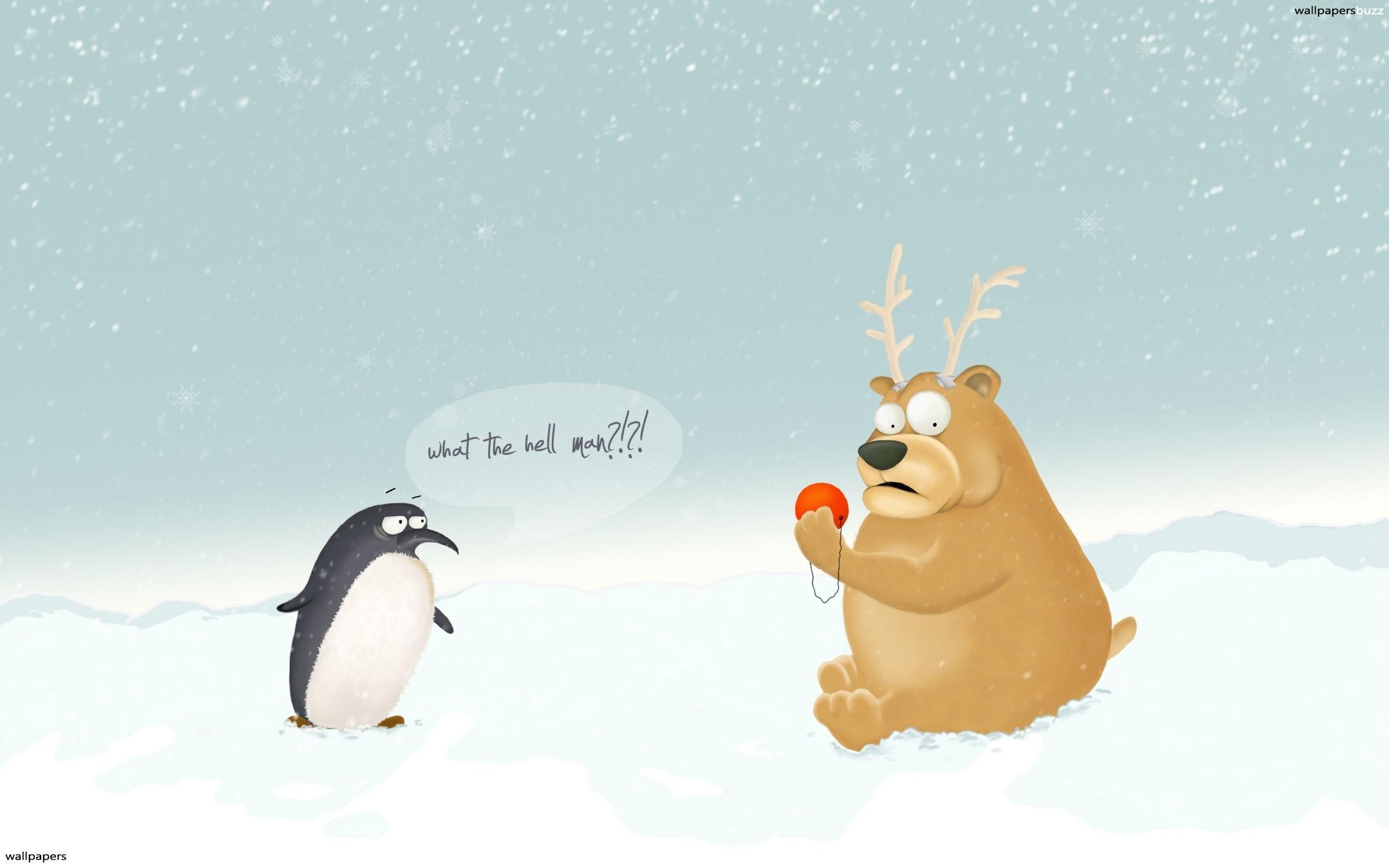 … Funny Christmas Wallpaper b_penguin and bear …