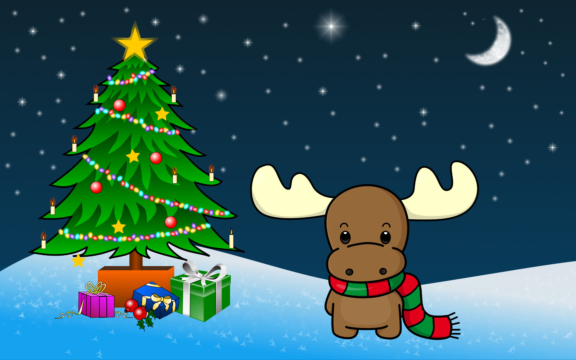 Images Of Christmas, Toy Elk Under Tree
