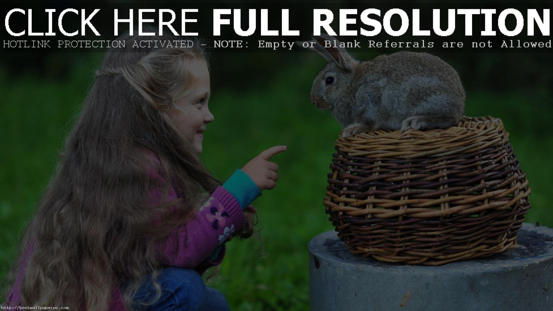 Cute Little Baby Girl And Rabbit Wallpaper Full HD